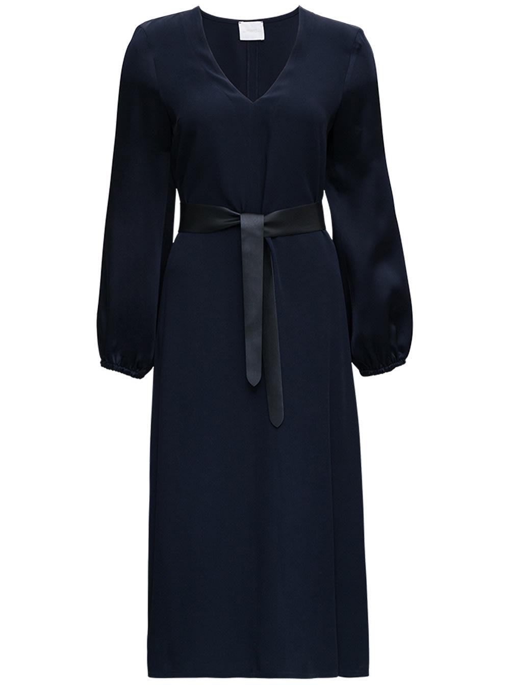 Blue Satin Dress With Belt