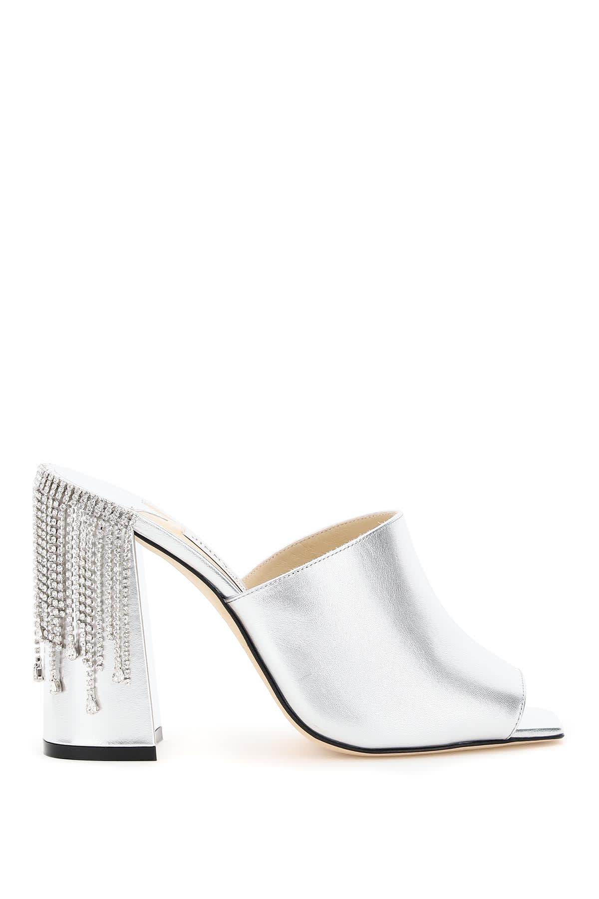 Buy Jimmy Choo Baia Mules 100 With Crystal Drape online, shop Jimmy Choo shoes with free shipping