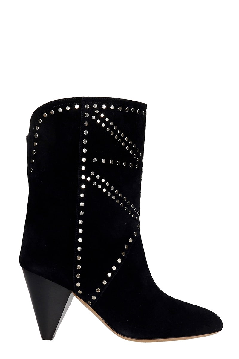 Buy Isabel Marant Deezia High Heels Ankle Boots In Black Suede online, shop Isabel Marant shoes with free shipping