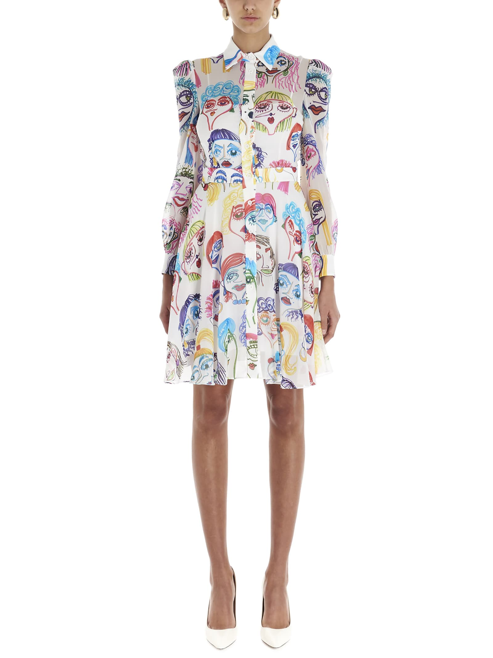 Buy Moschino all Over Faces Dress online, shop Moschino with free shipping