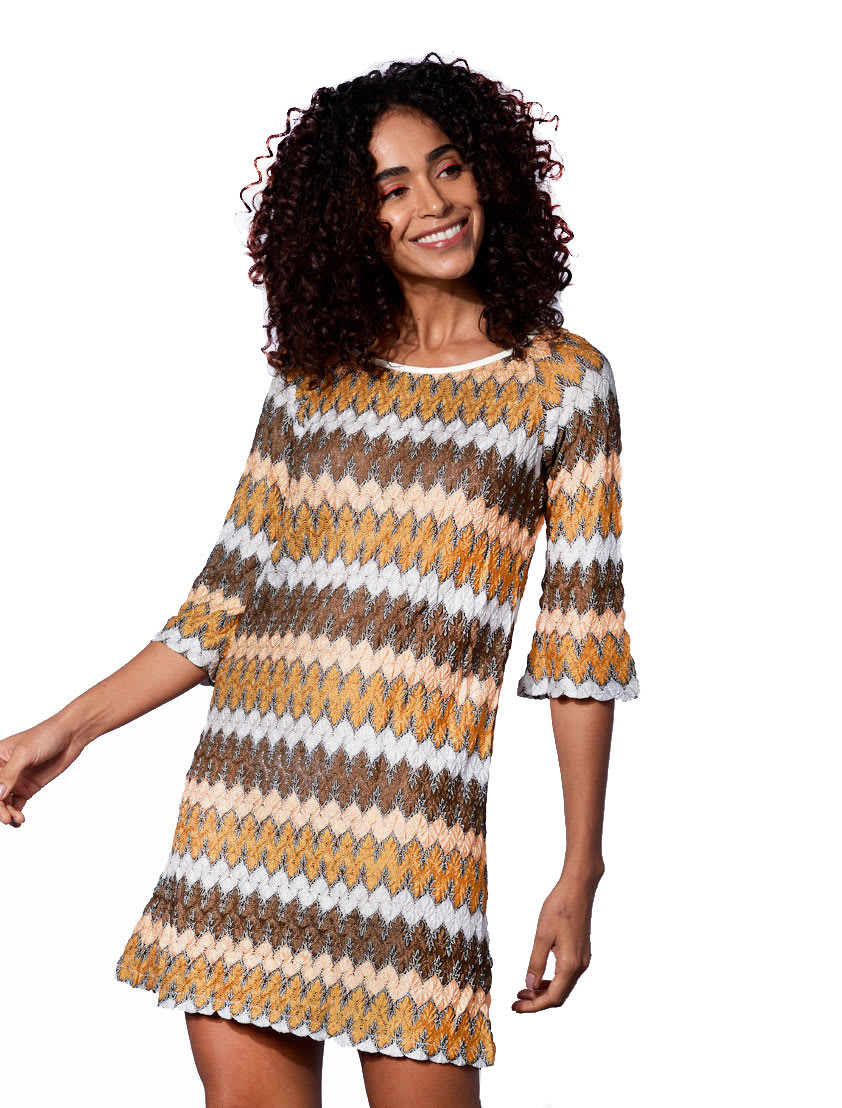 Buy Gold Knitted Mini Dress online, shop MC2 Saint Barth with free shipping