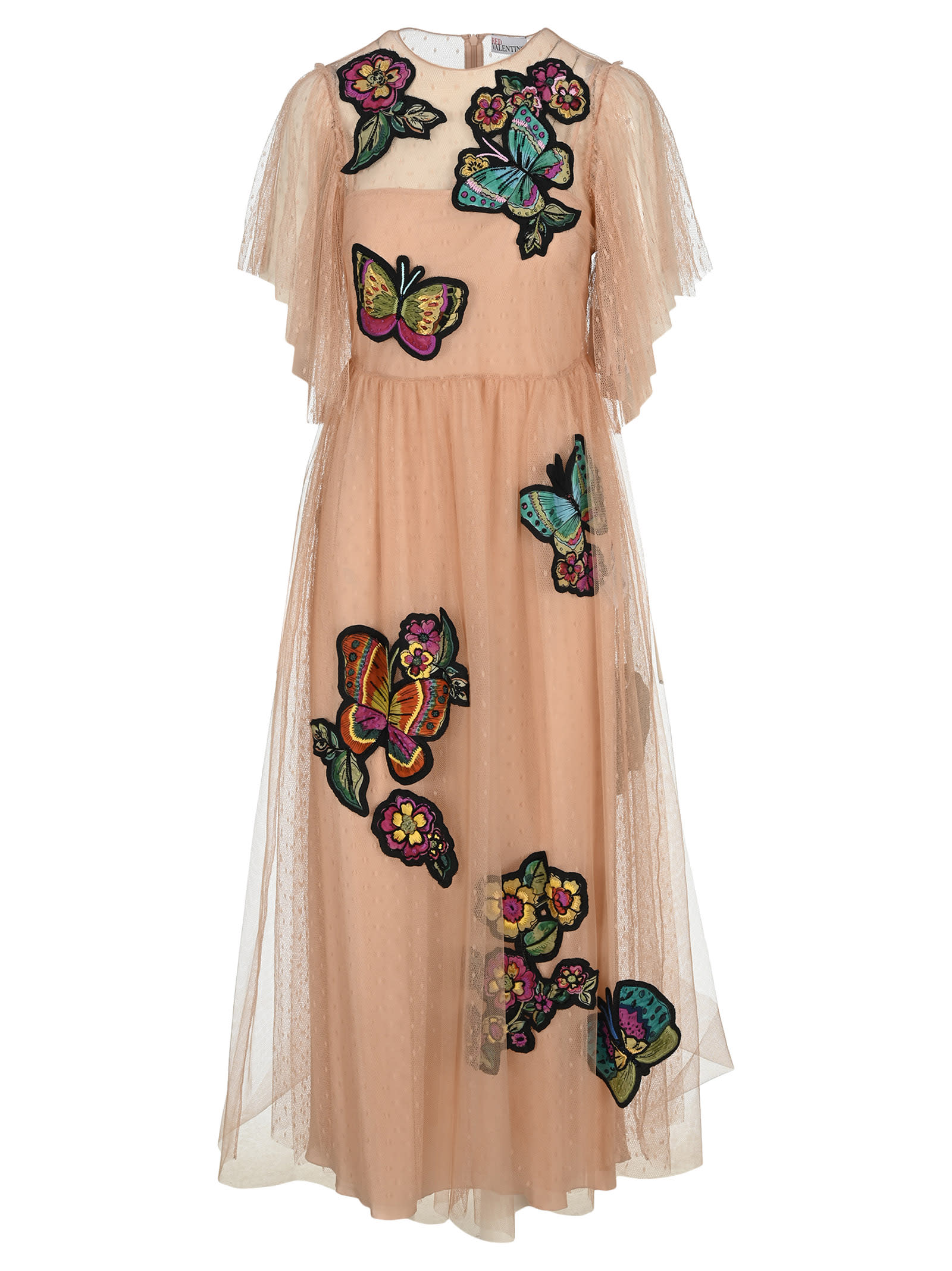 Buy Red Valentino Butterfly Patches Point Desprit Dress online, shop RED Valentino with free shipping