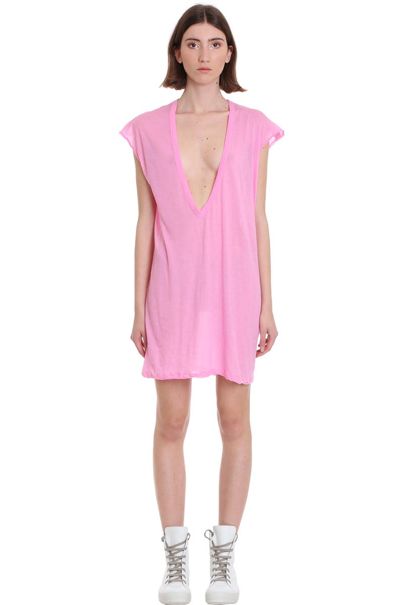 Buy Rick Owens Dylan T Dress In Rose-pink Cotton online, shop Rick Owens with free shipping
