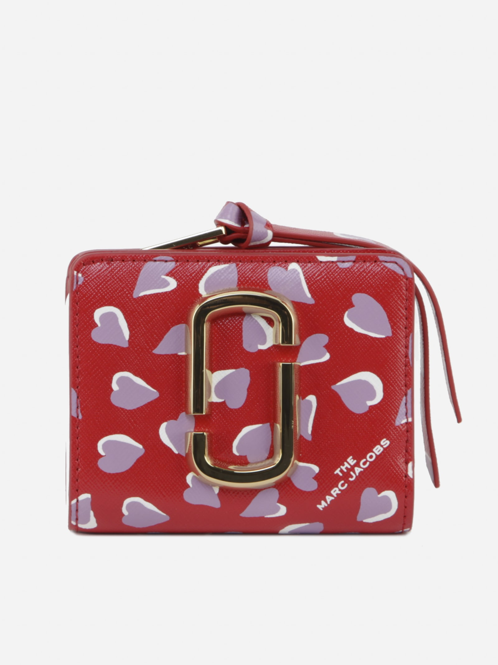 Marc Jacobs SNAPSHOT MINI WALLET WITH LEATHER PRINTED HEARTS