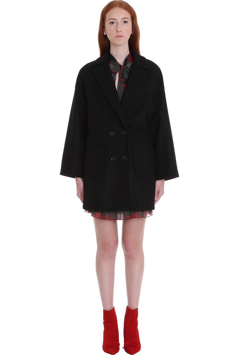 RED Valentino Coat In Black Wool