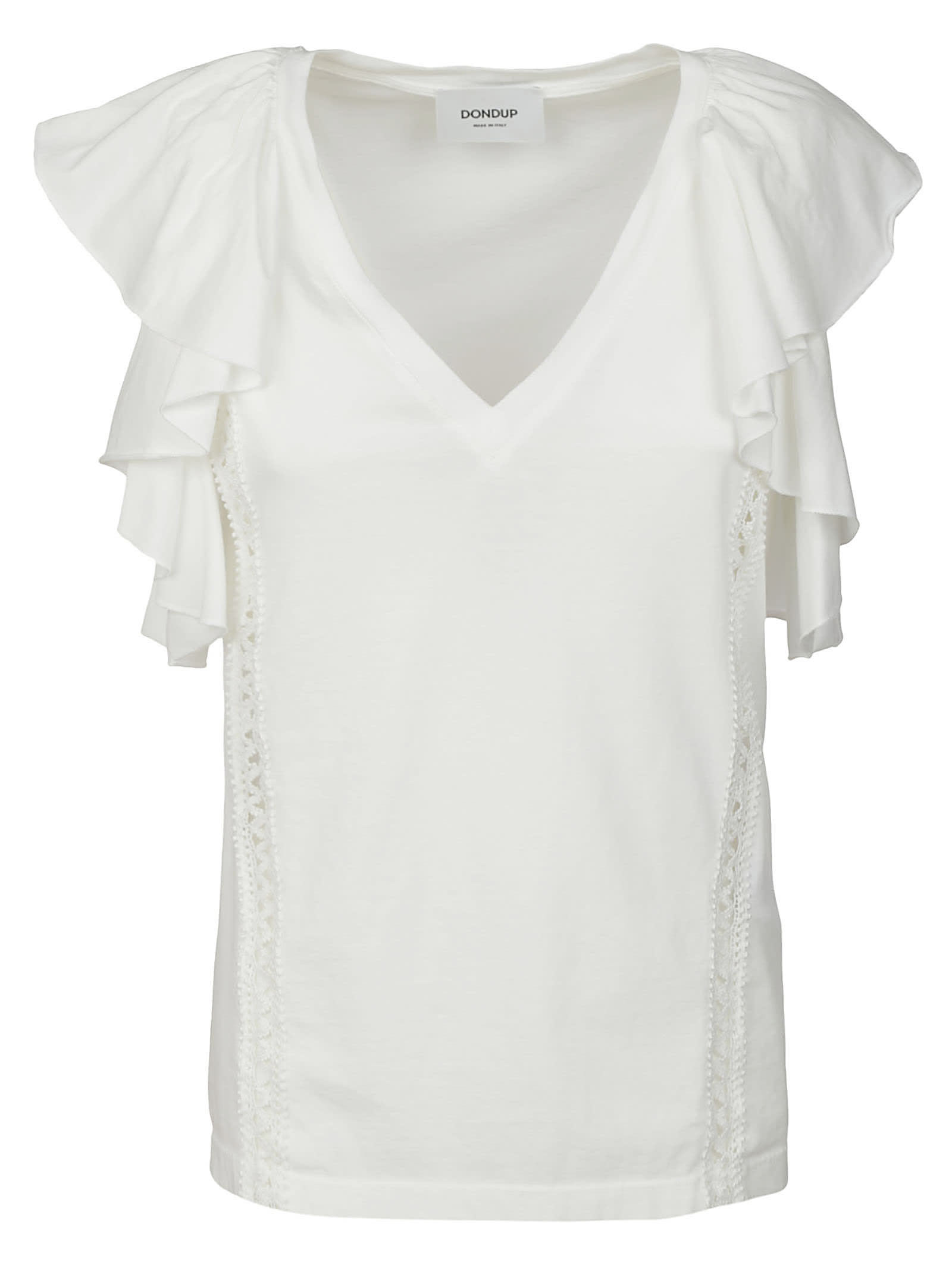 Dondup Cottons RUFFLE SIDED V-NECK TOP