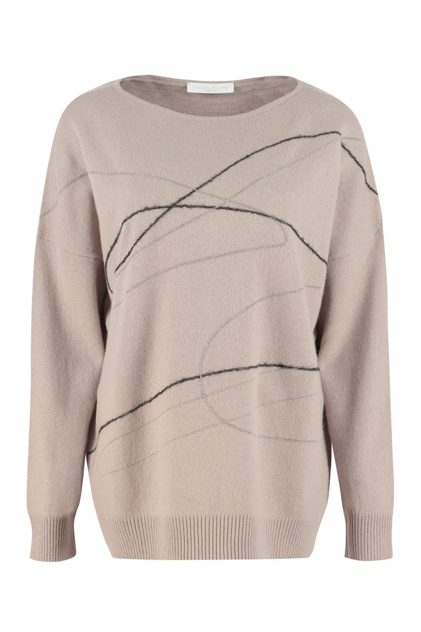 Fabiana Filippi Wool, Cashmere And Silk Blend Sweater In Turtledove