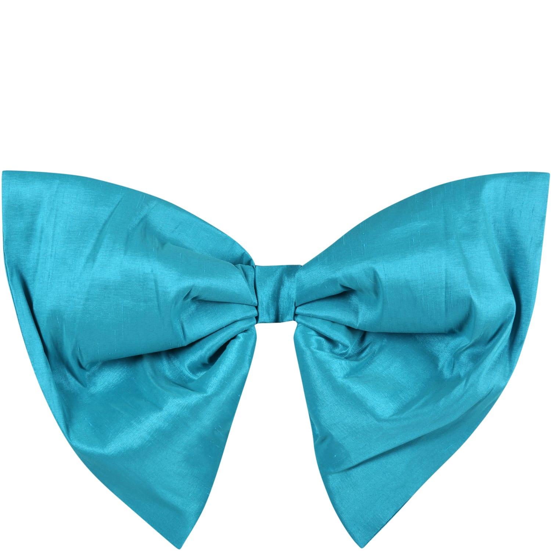 Light-blue Belt For Girl With Bow