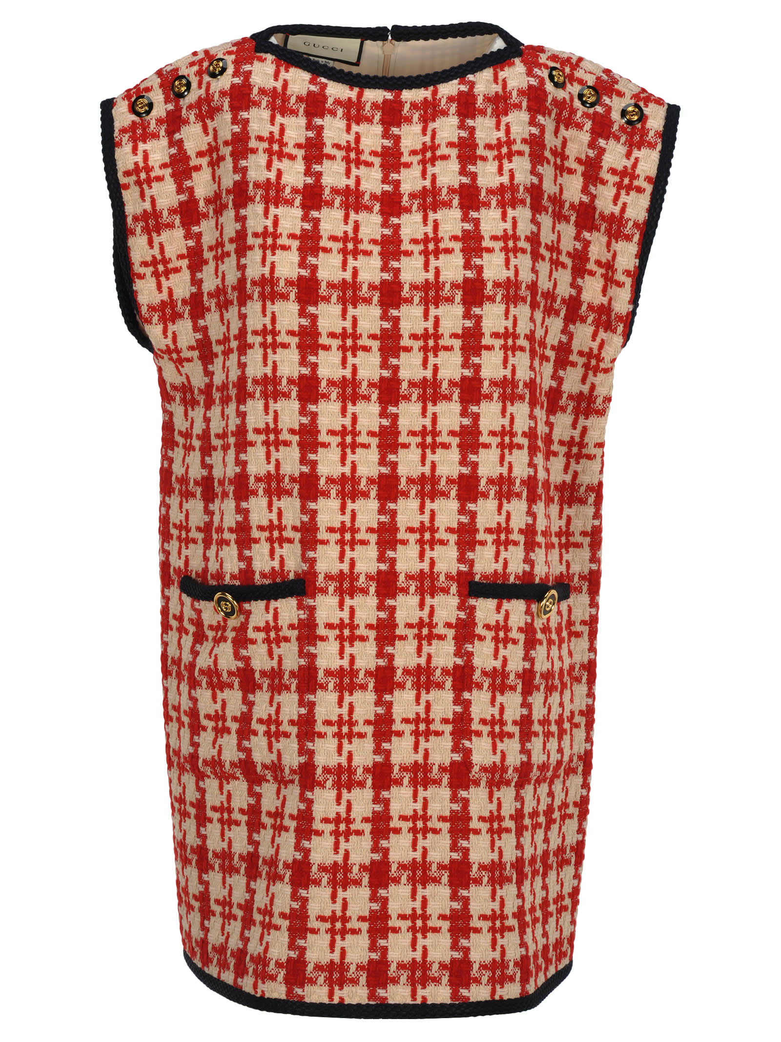 3147dc653 Gucci Gucci Gucci Houndstooth Sleeveless Dress - RED WHITE ...