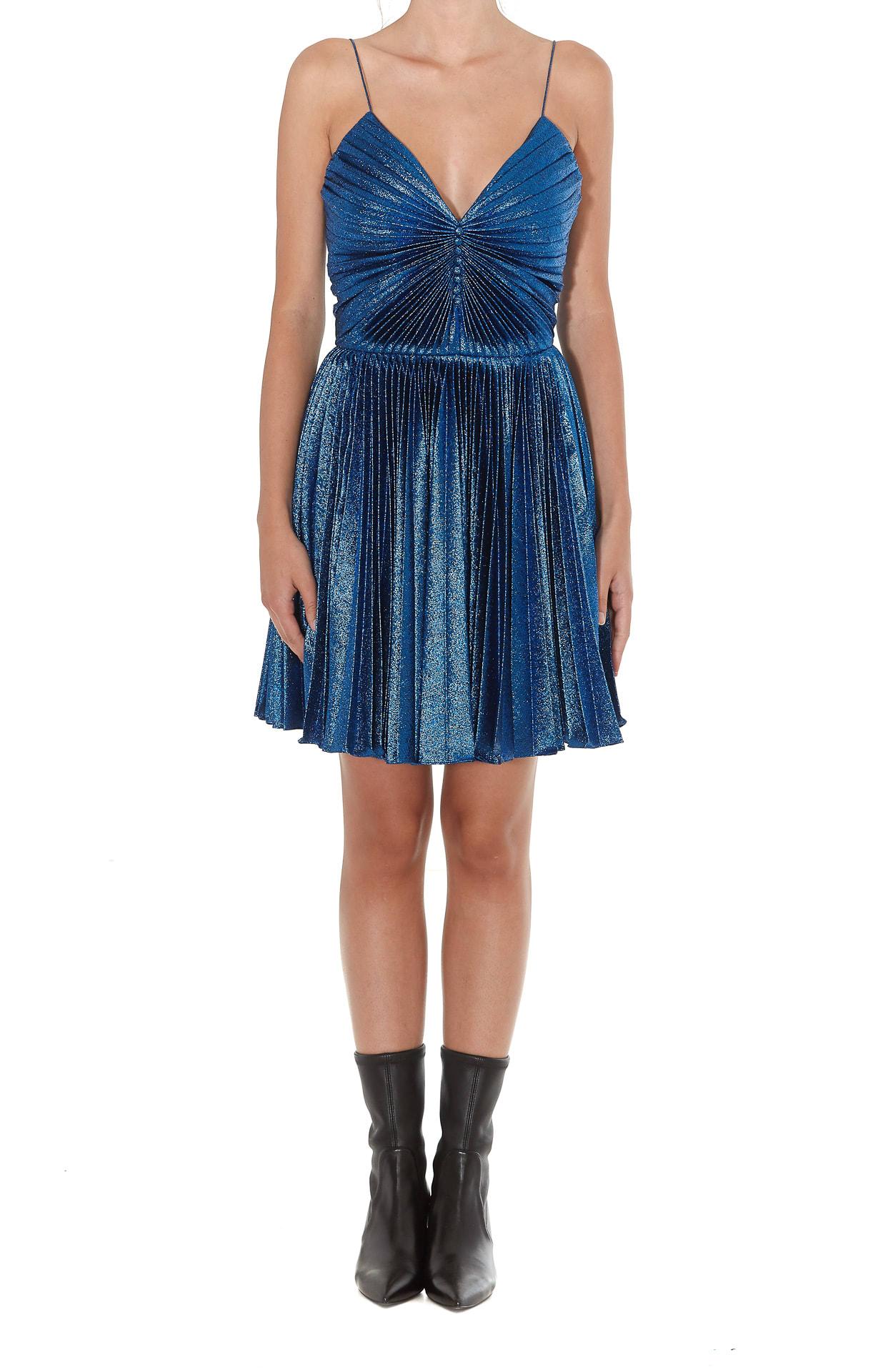 Saint Laurent Lame Pleated Dress