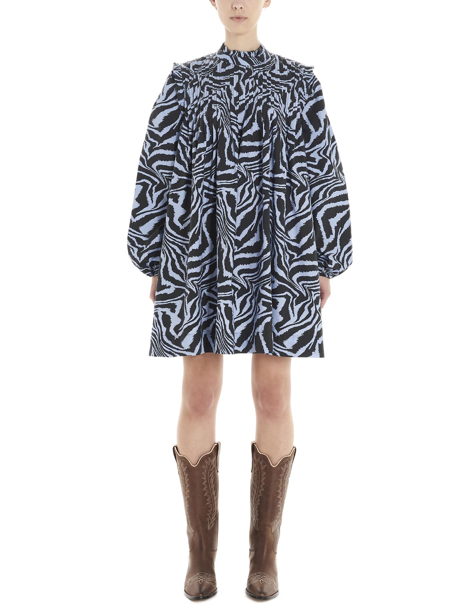 Buy Ganni zebra Dress online, shop Ganni with free shipping
