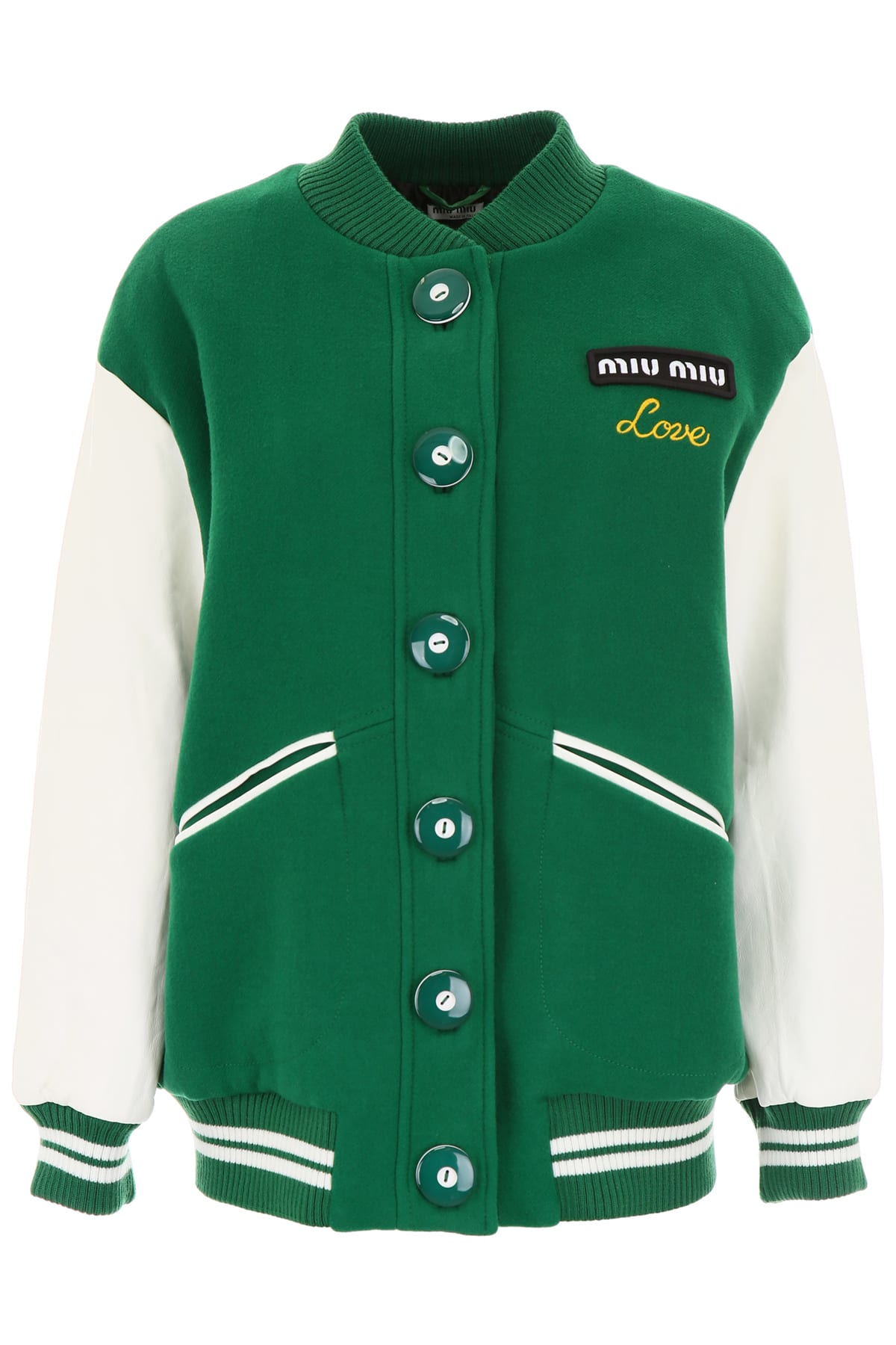 Miu Miu Wool And Leather Bomber Jacket