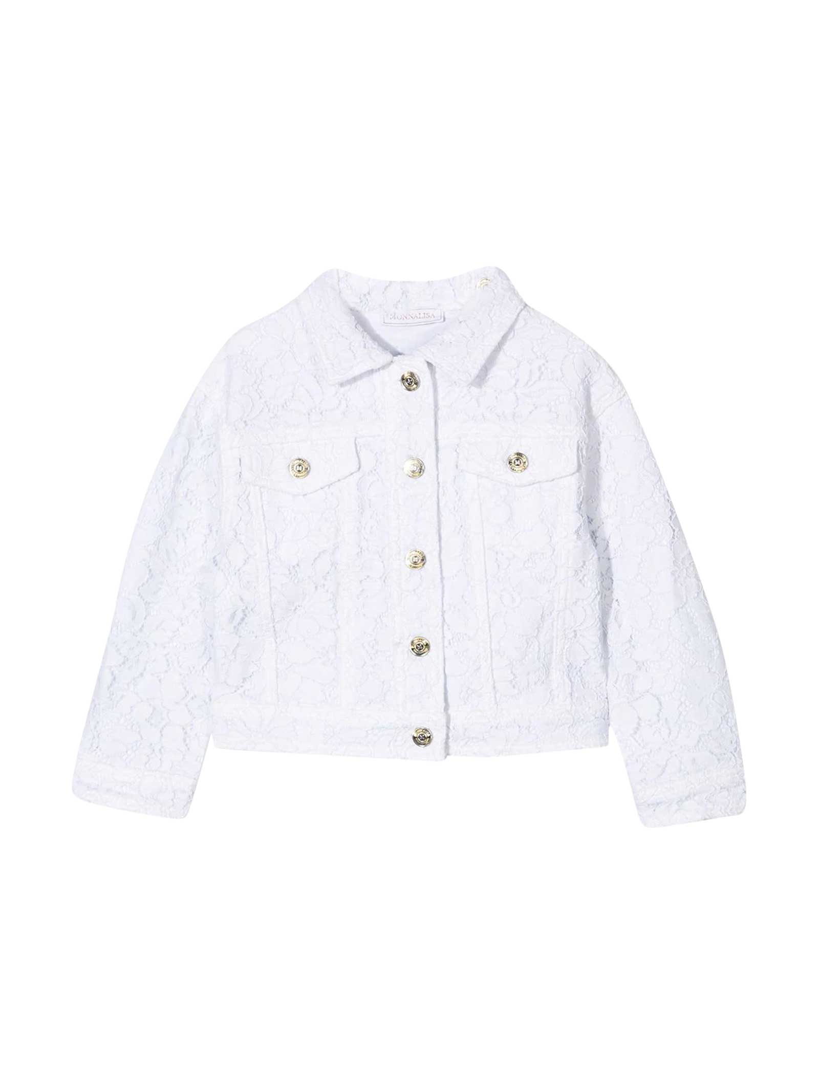 Monnalisa DENIM JACKET WITH EMBROIDERY