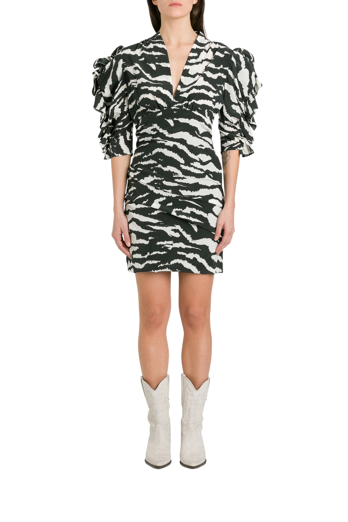 Buy Isabel Marant Farah Mini Dress With Puffer Sleeves In Zebra Print online, shop Isabel Marant with free shipping