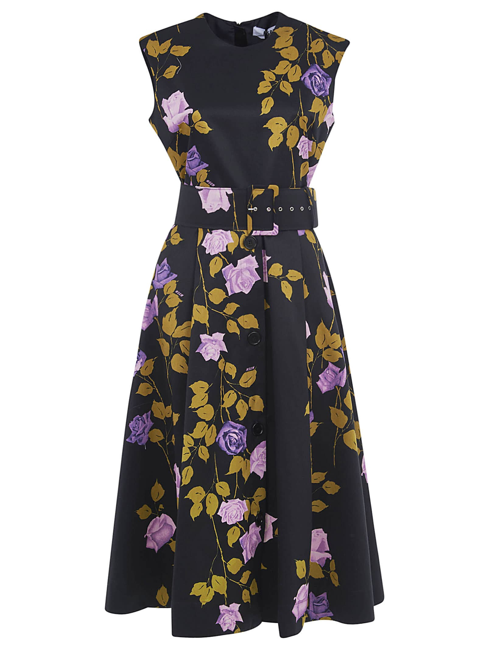 Buy Floral Print Sleeveless Belted Dress online, shop MSGM with free shipping