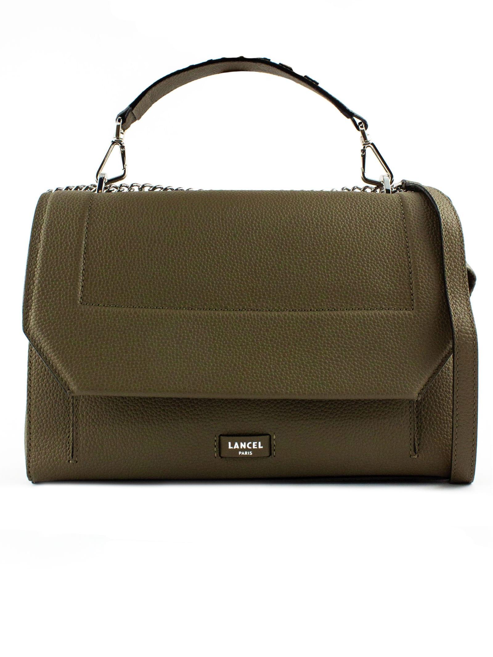Khaki Leather Shoulder Bag