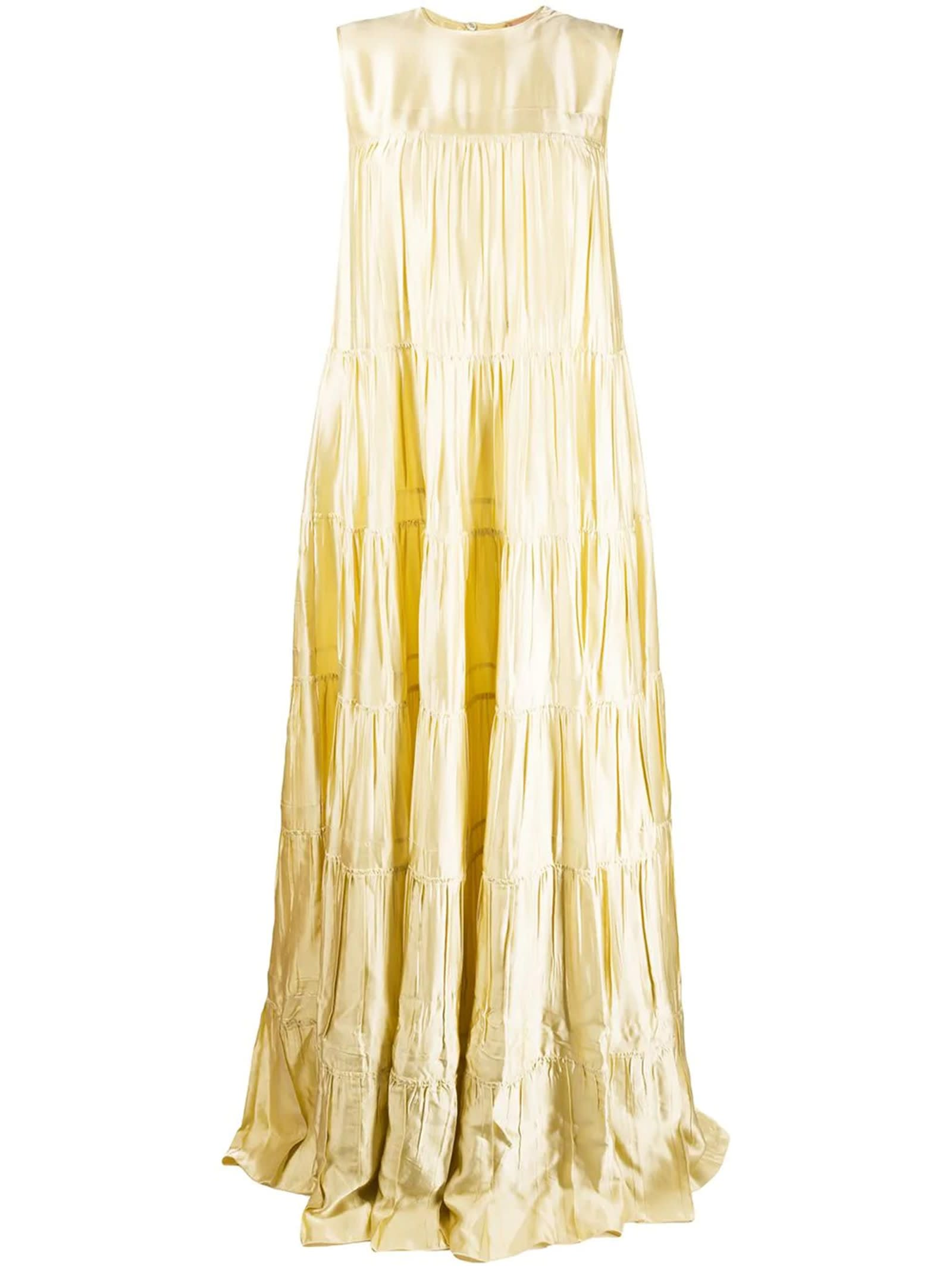 Buy N°21 Yellow Tiered Tie-back Maxi Dress online, shop N.21 with free shipping