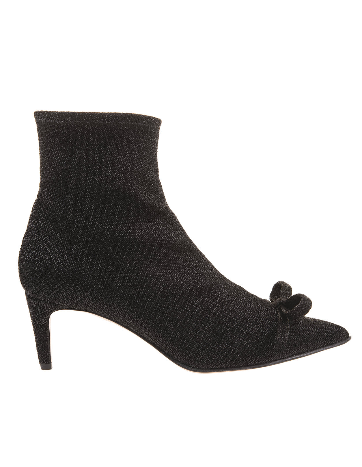 Red Valentino WOMAN BLACK LUREX ANKLE BOOT WITH BOW
