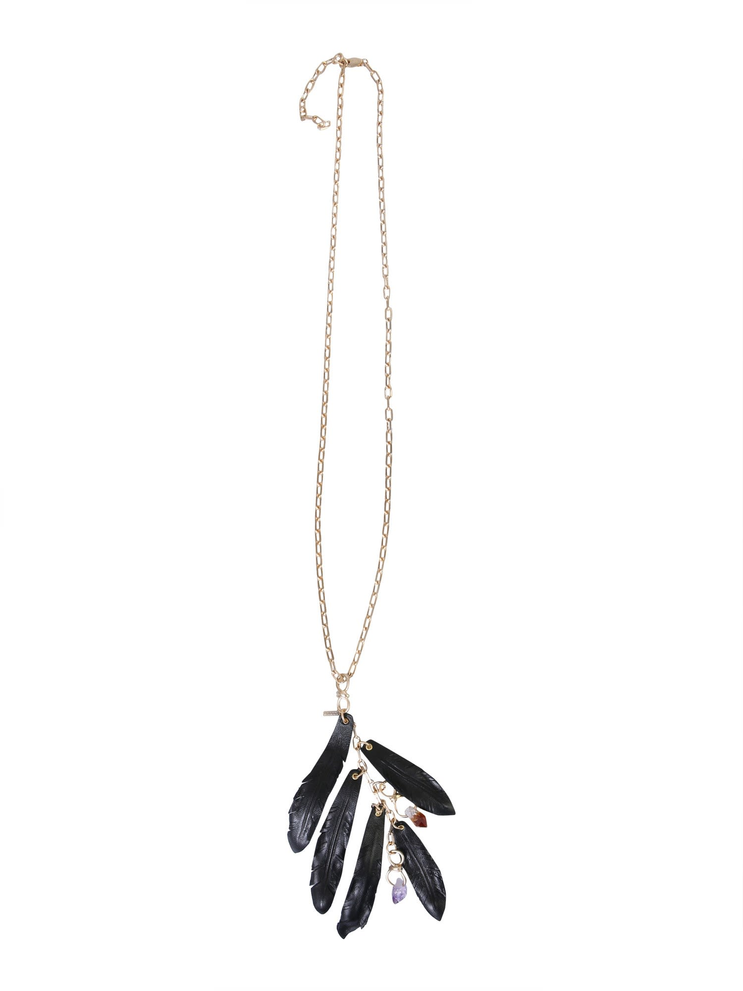 Dsquared2 NECKLACE WITH TALISMAN AND FEATHERS