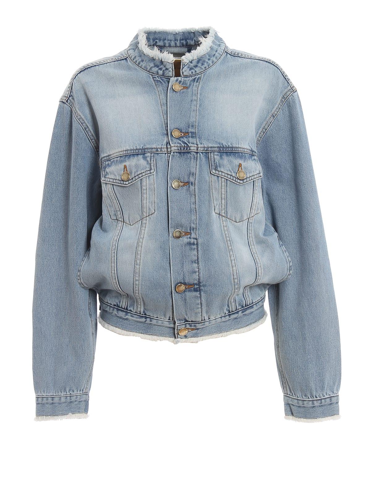 Alexandre Vauthier Unfinished Hem Cotton Denim Jacket