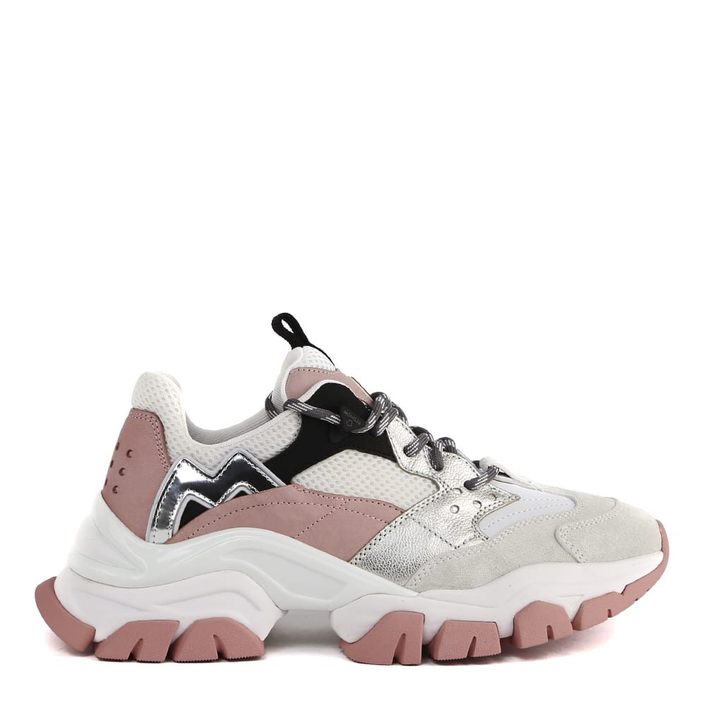 Moncler Leathers LEAVE NO TRACE WHITE AND PINK SNEAKERS IN LEATHER AND MESH