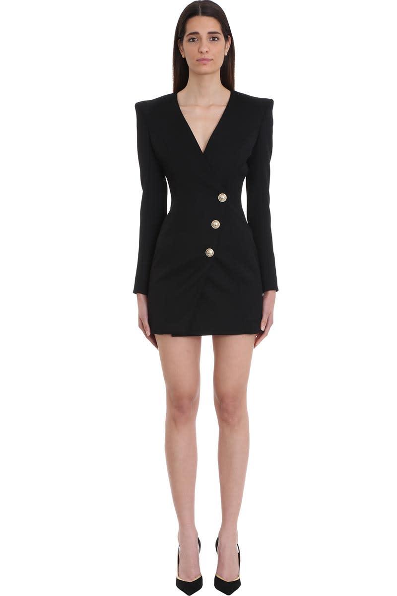 Balmain Black Wool Cache Dress