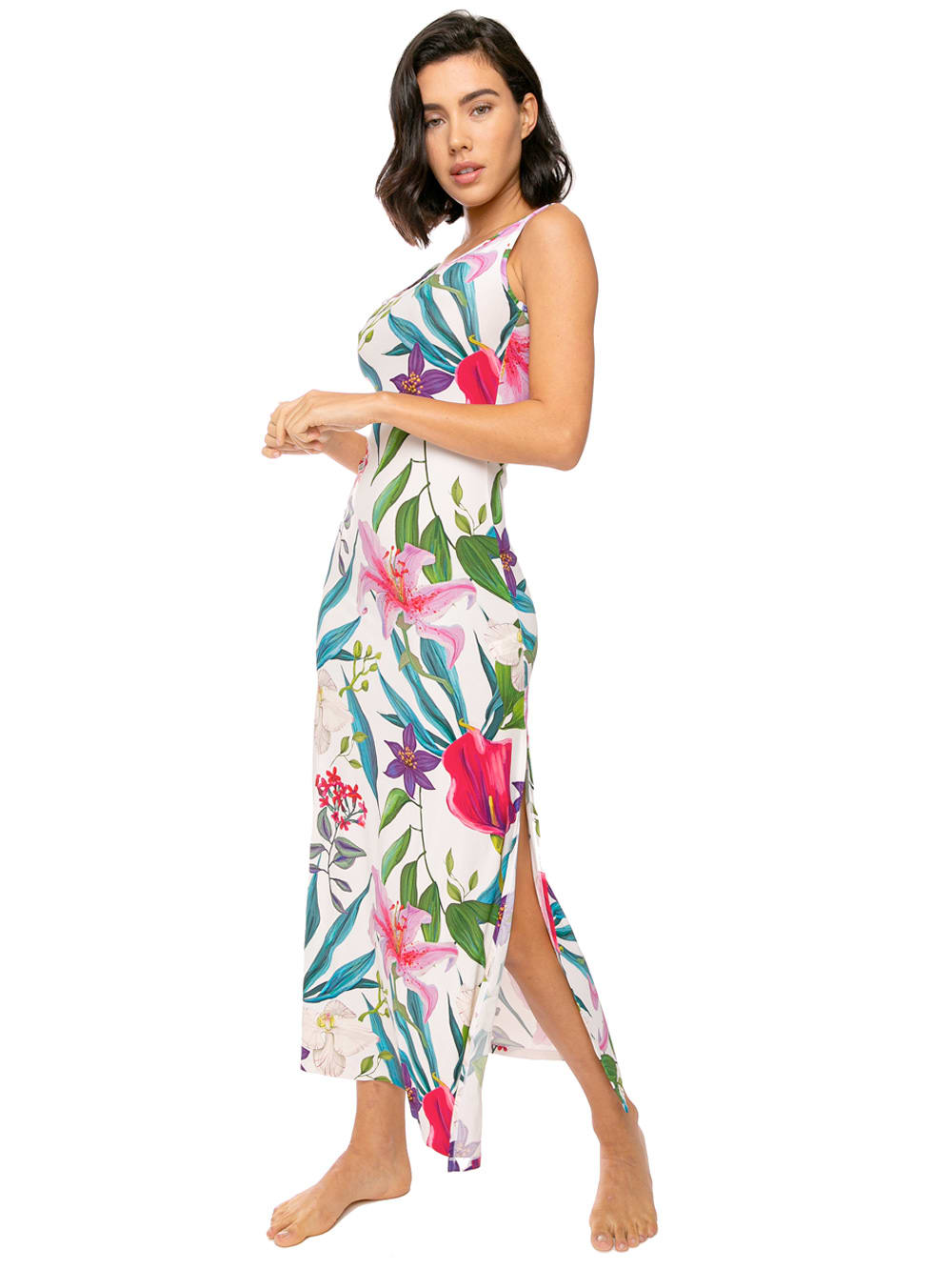 Buy Long Tank Dress Floreal Print online, shop MC2 Saint Barth with free shipping