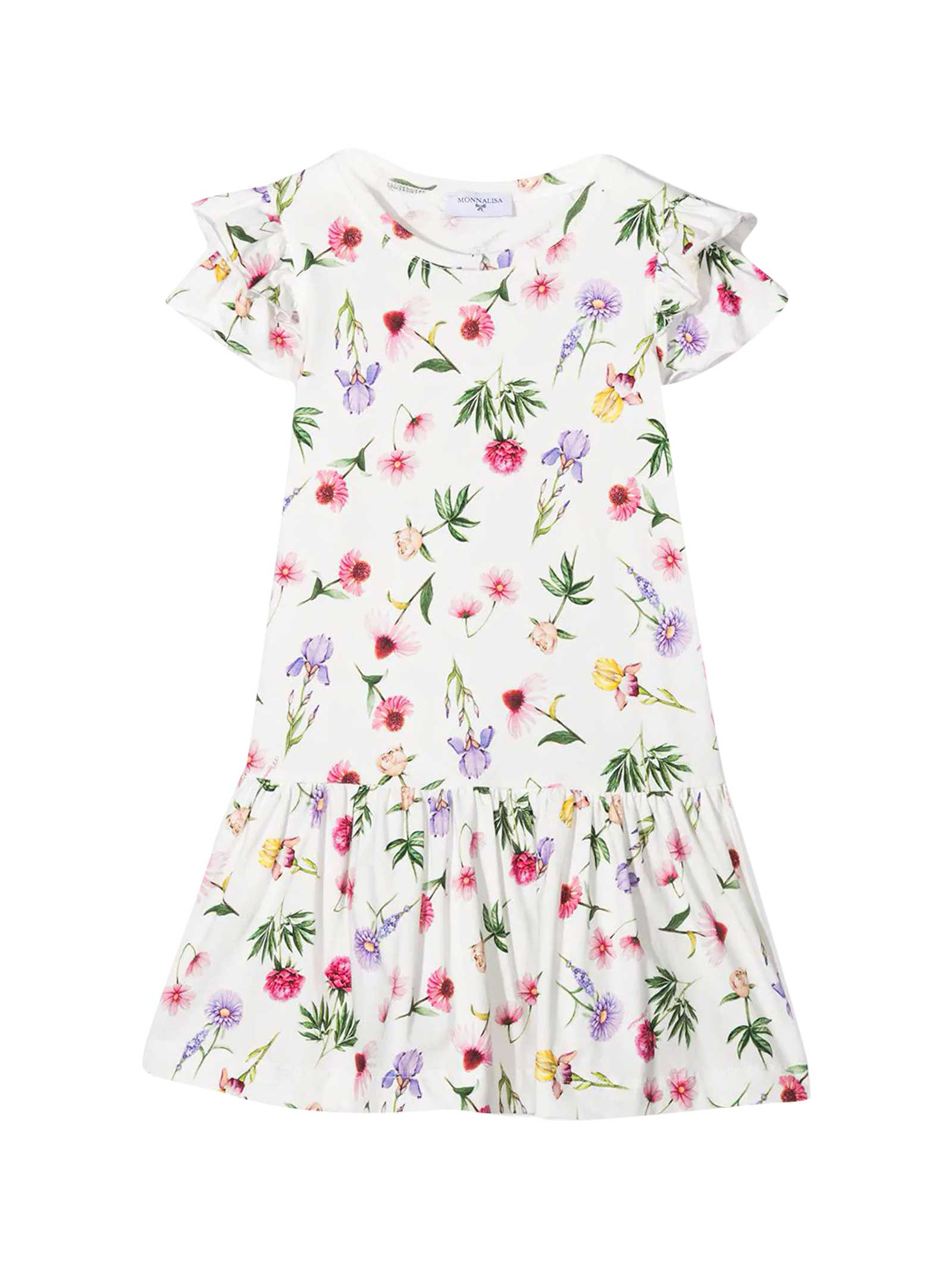 White Dress With Multicolor Print
