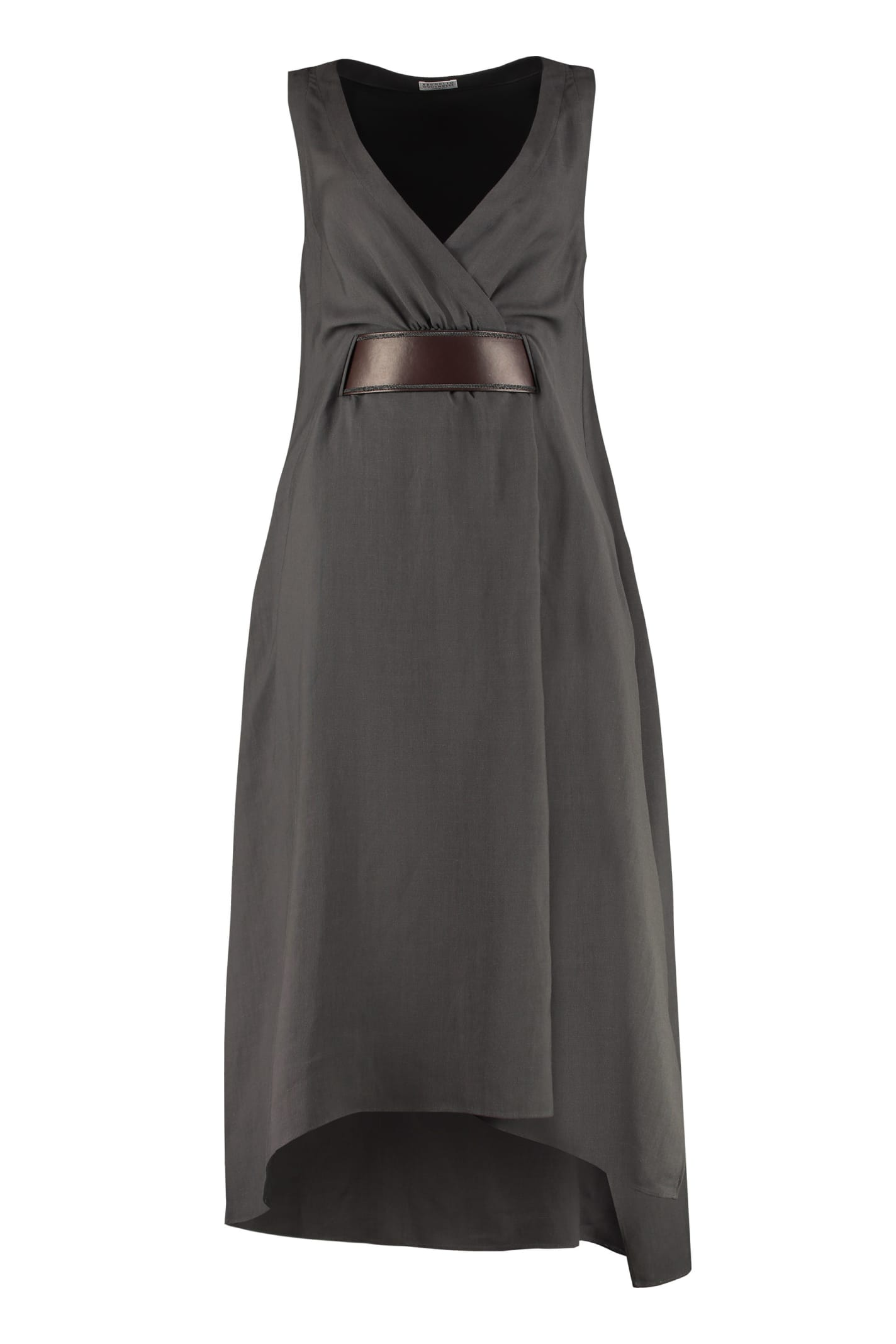 Buy Brunello Cucinelli Midi Dress With Belt online, shop Brunello Cucinelli with free shipping