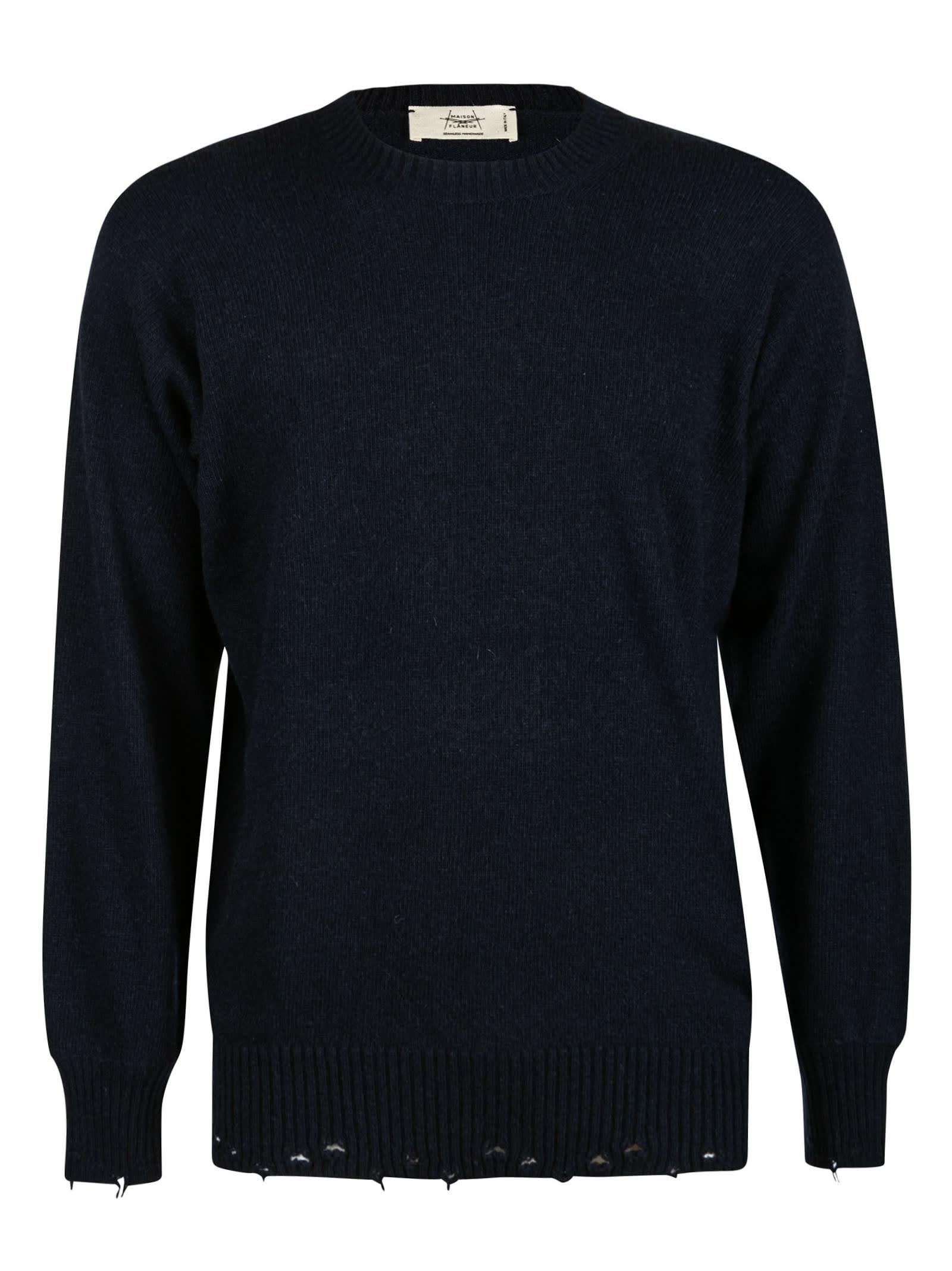 Distressed Effect Plain Sweater