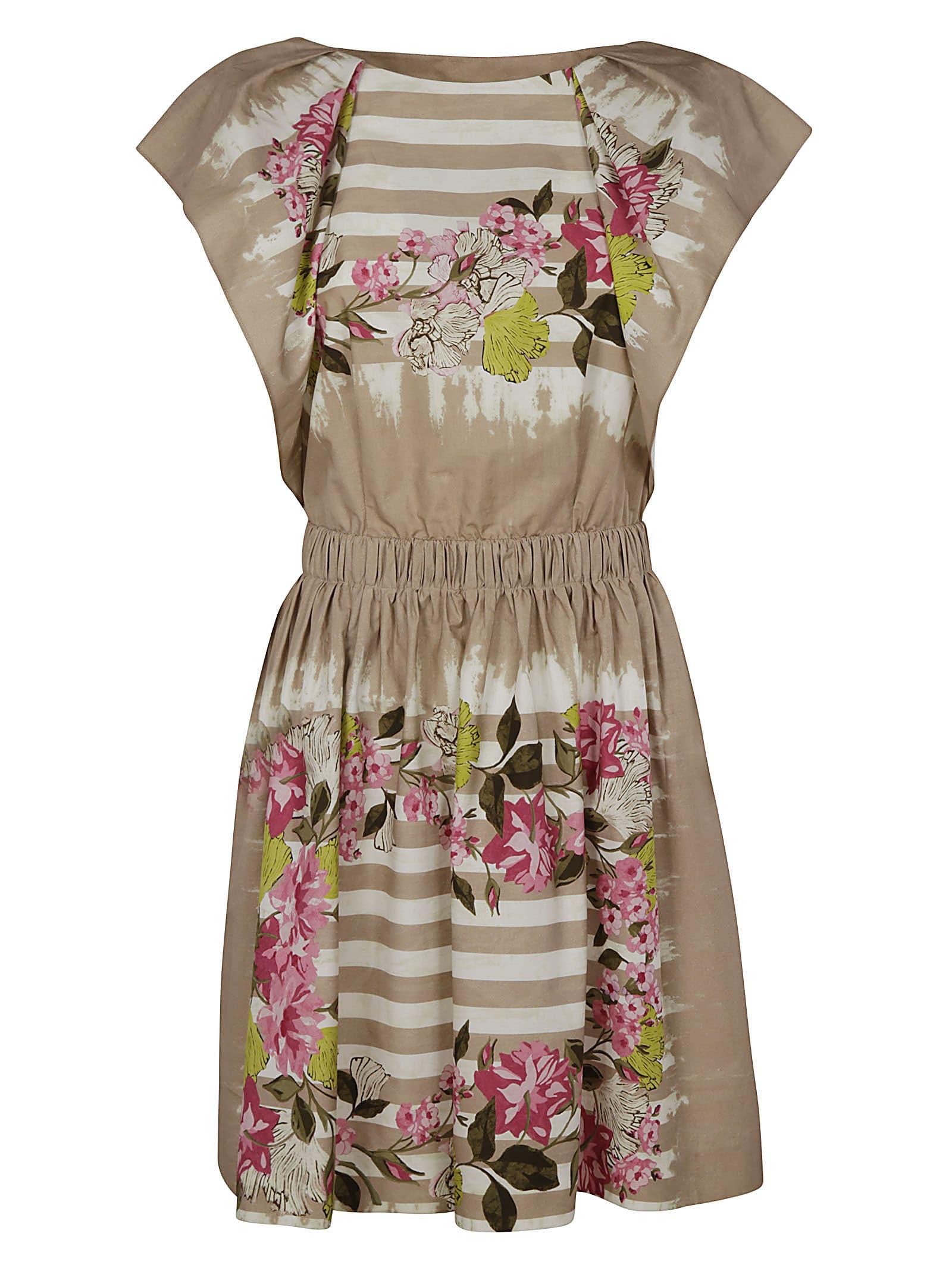 Alberta Ferretti Floral Print Stripe Detail Dress
