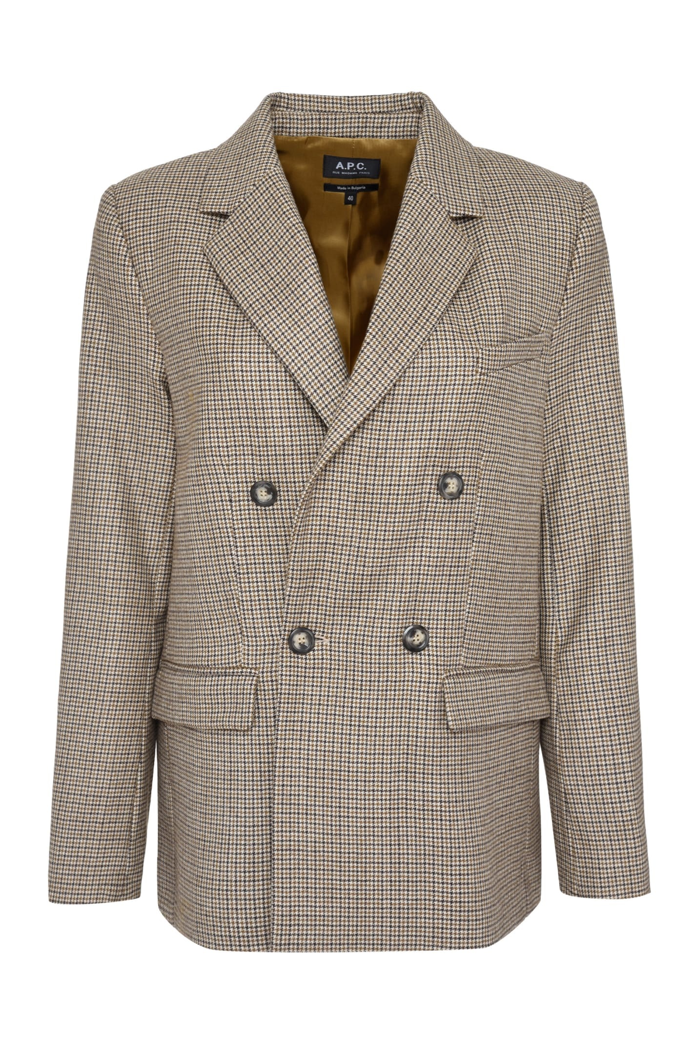 A.p.c. Blazers PRUNE CHECKED DOUBLE-BREASTED BLAZER