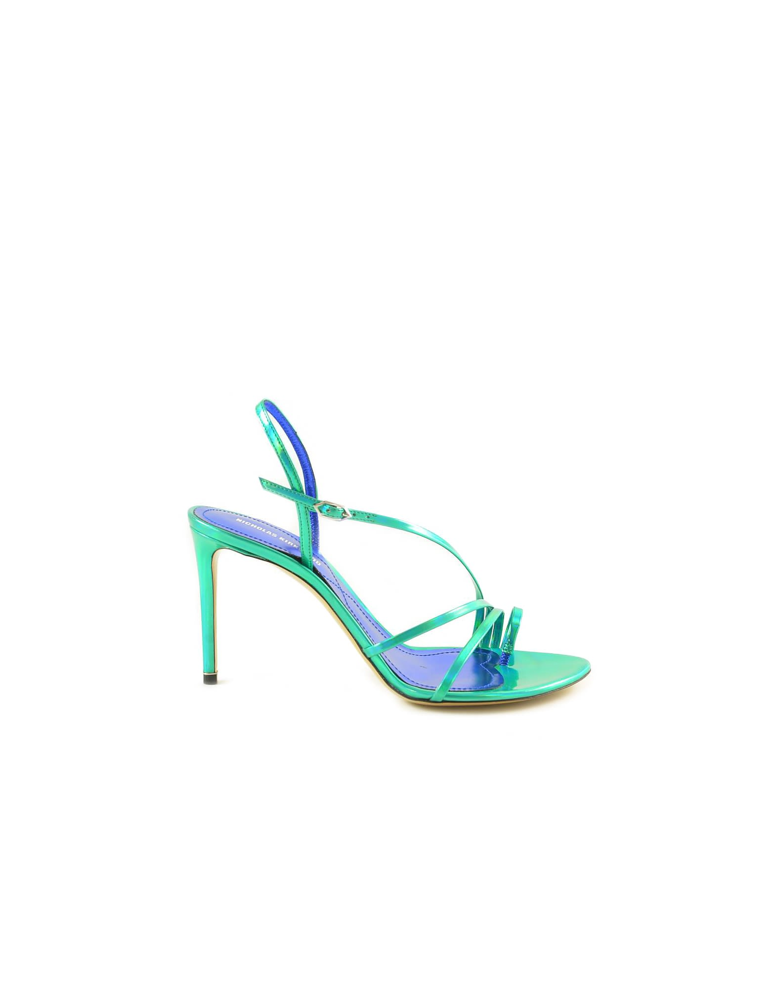 Buy Nicholas Kirkwood Laminated Green Leather Sandals online, shop Nicholas Kirkwood shoes with free shipping