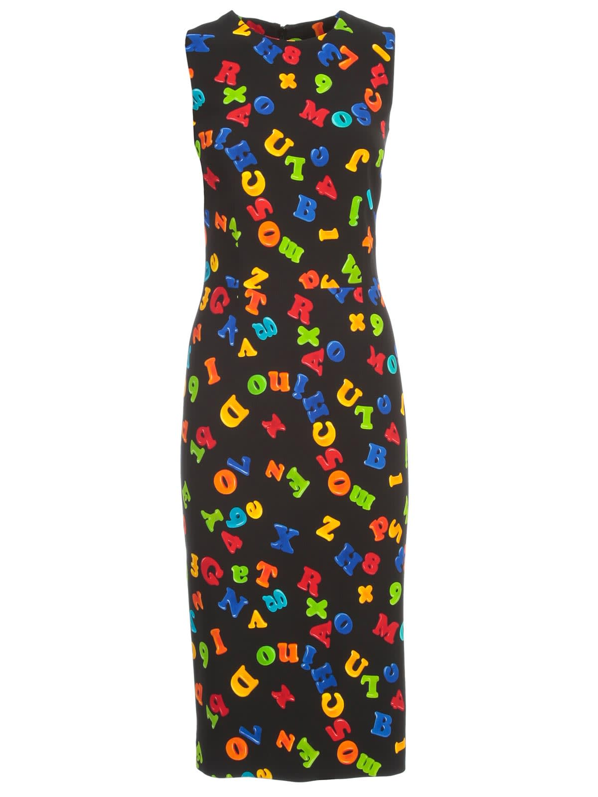 Buy Moschino Pencil Dress W/s Crepe Magnets Fantasy online, shop Moschino with free shipping