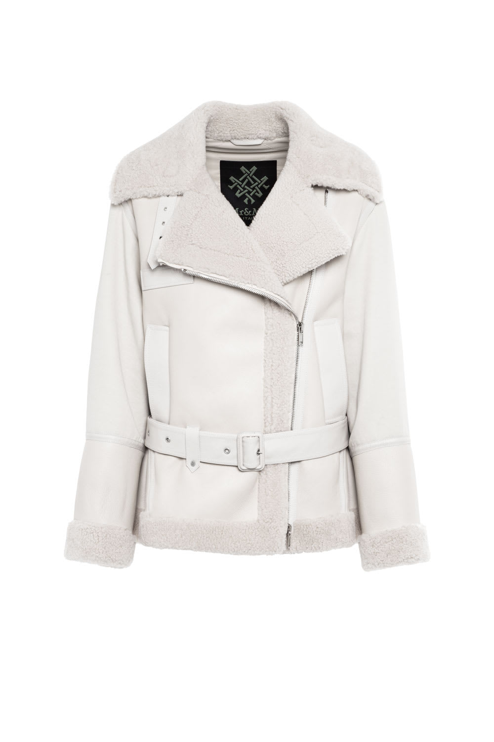 Mr & Mrs Italy Leathers ELIZABETH SULCERS CAPSULE COTTON DRILL, METAL-FREE SHEARLING AND LEATHER BIKER JACKET FOR WOMAN