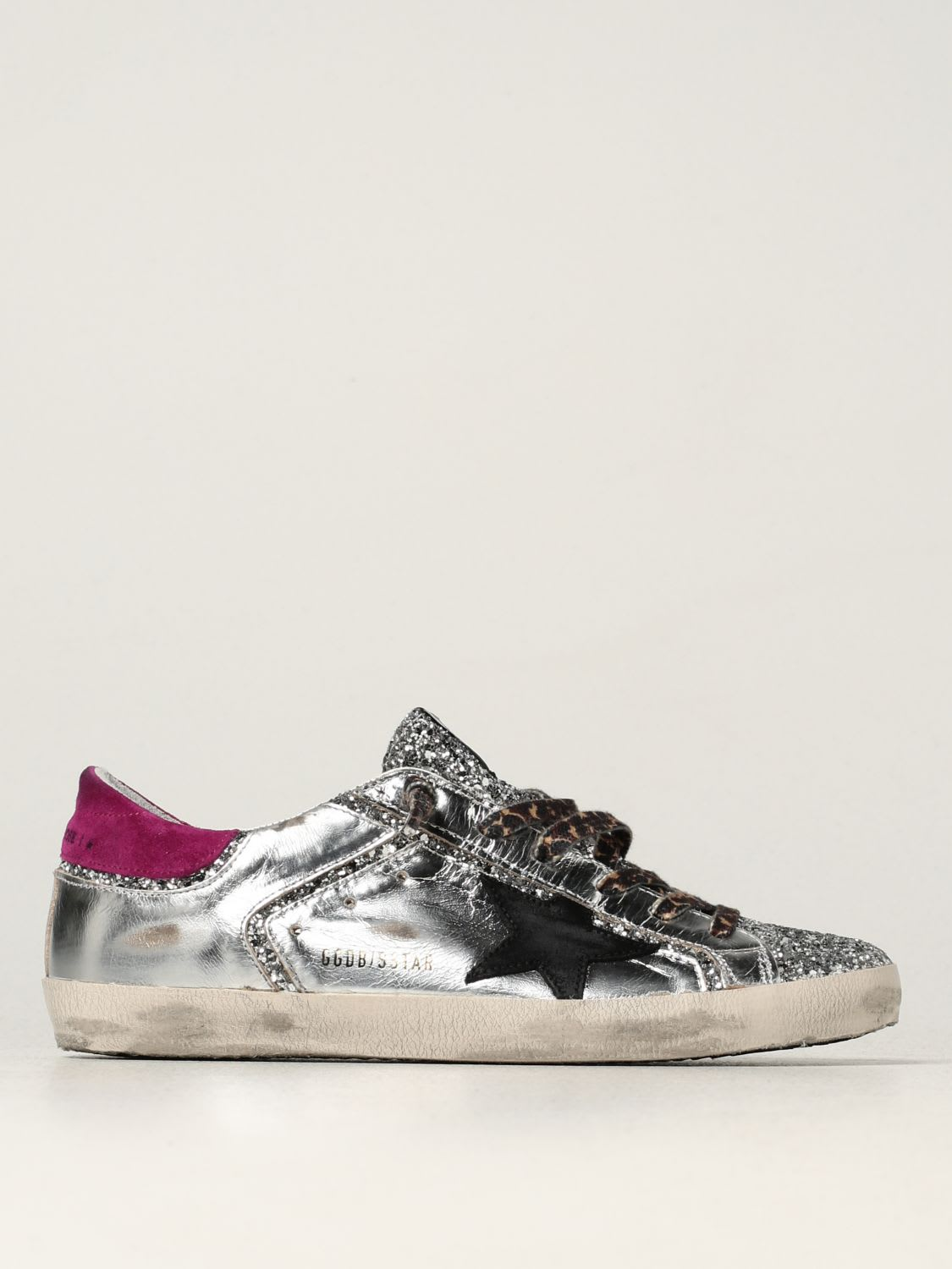 Golden Goose Sneakers Super-star Golden Goose Sneakers In Laminated Leather And Glitter