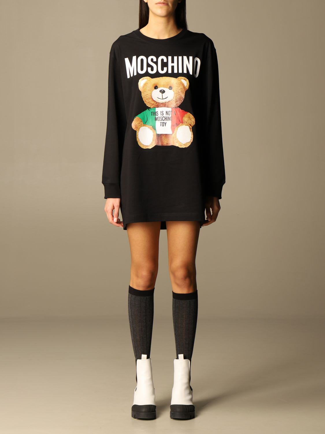 Moschino Couture Dress Moschino Couture Cotton Sweatshirt Dress With Teddy Print