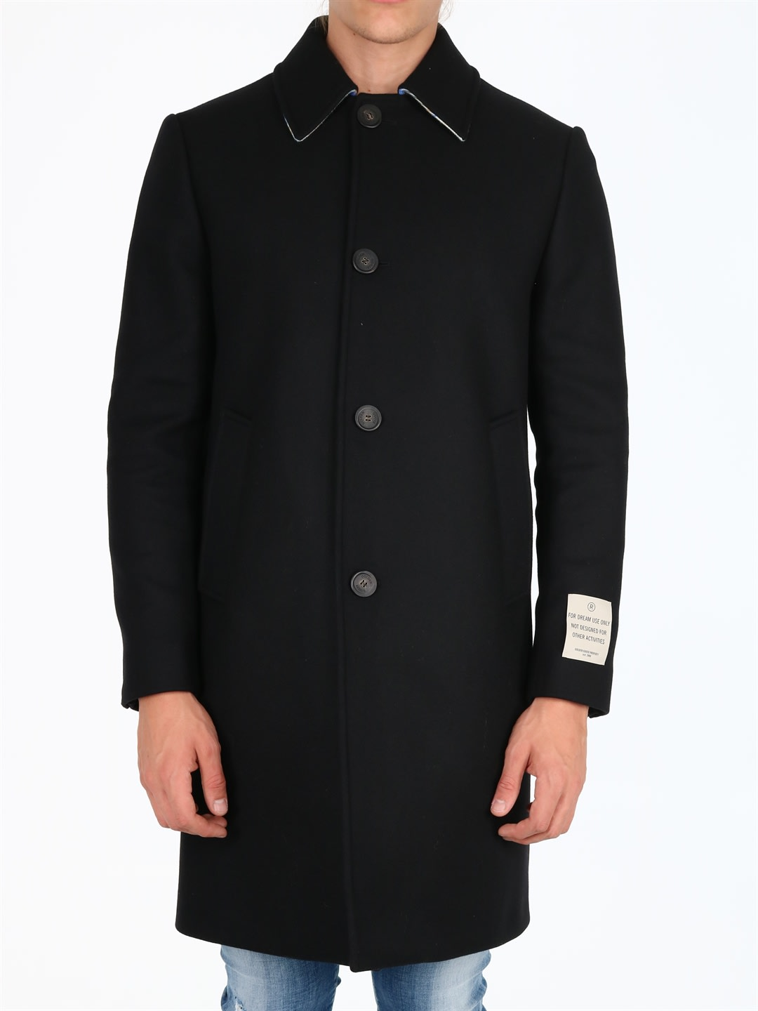 Single-breasted coat in black wool with multicolor check detail on the back of the collar. Single-breasted closure, label sewn on the sleeve. Side pockets, central back vents. The model is 1. 90 cm tall and wears size 50IT / LComposition: 80% Virgin Wool, 20% Polyamide