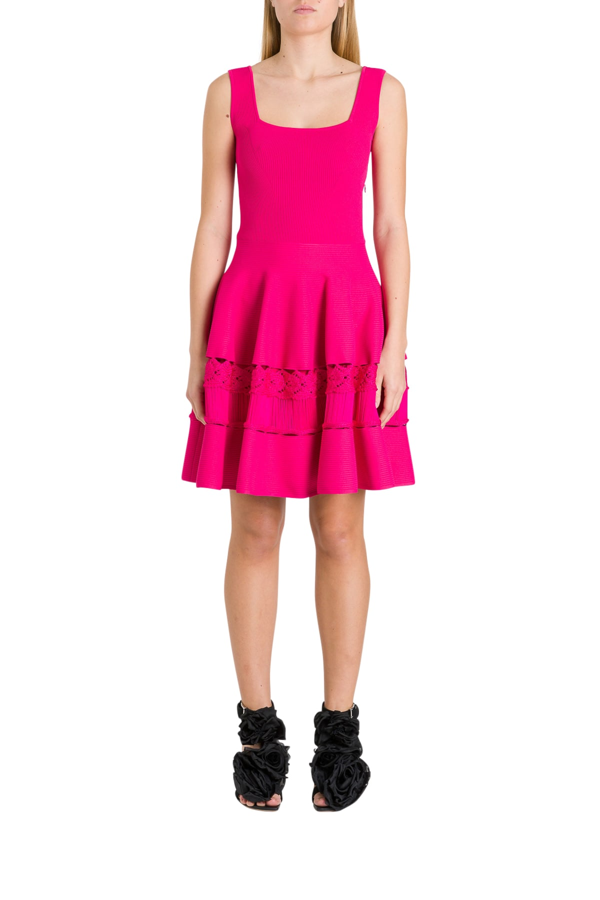 Buy Alexander McQueen Engineered Ribbed Knit Dress online, shop Alexander McQueen with free shipping