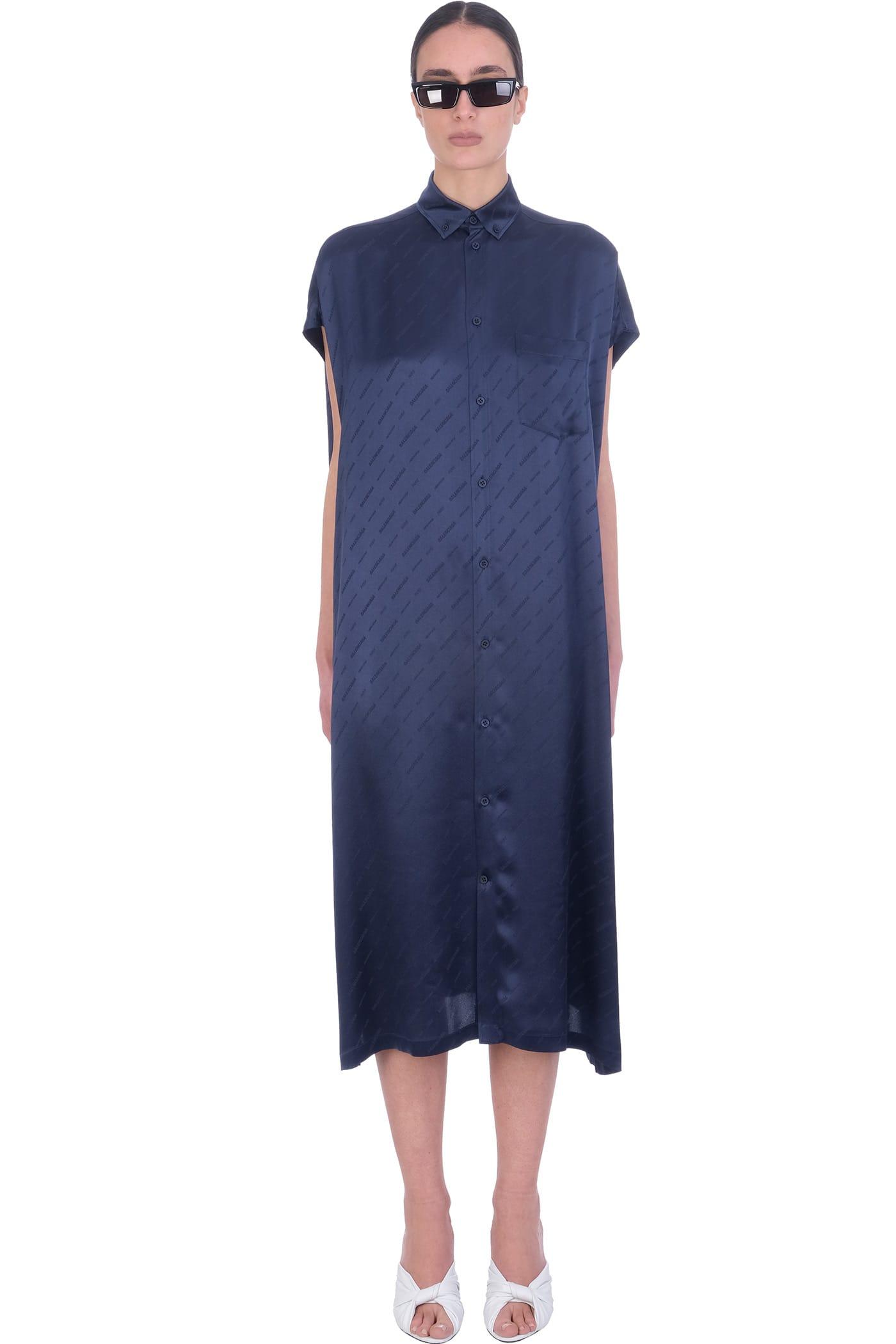 Balenciaga DRESS IN BLUE SILK