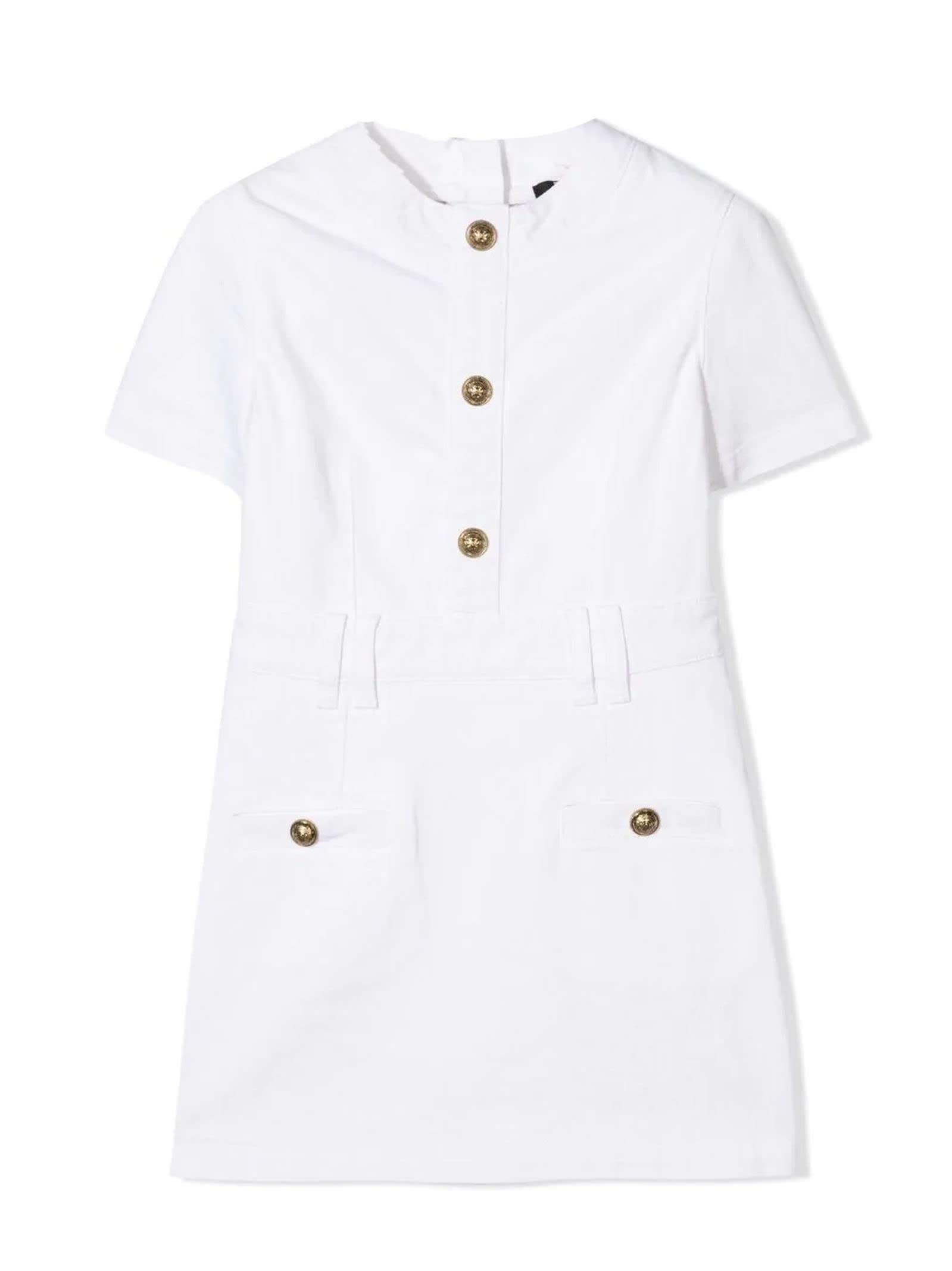 Buy Balmain White Cotton Blend Dress online, shop Balmain with free shipping