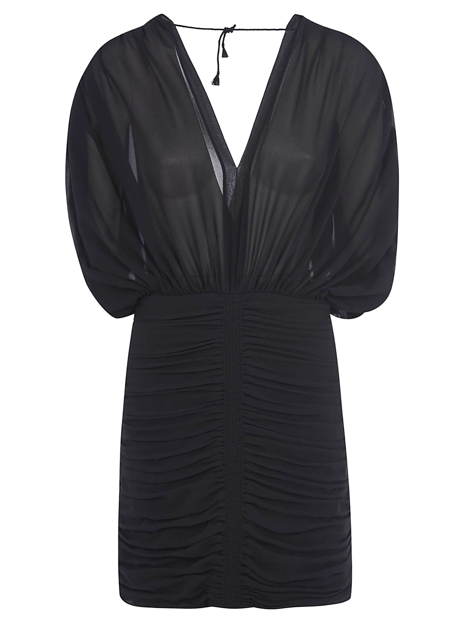 Buy Saint Laurent V-neck Fitted Waist Mid-length Dress online, shop Saint Laurent with free shipping