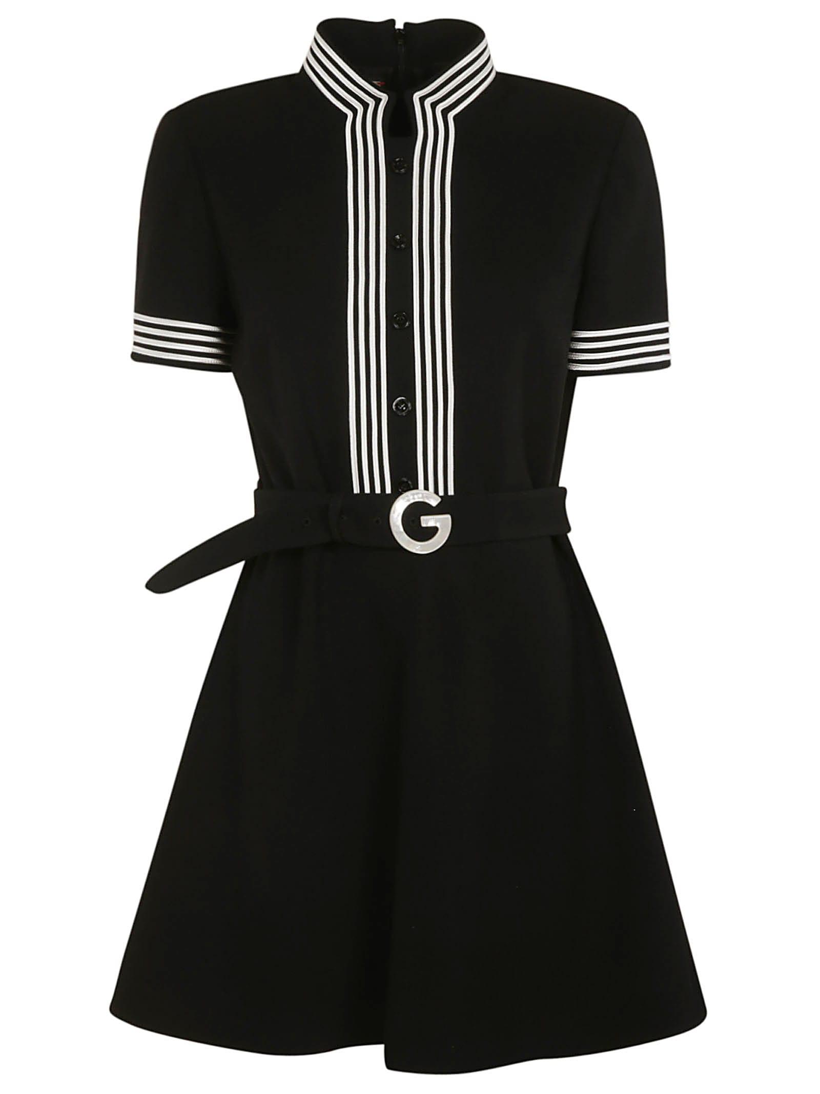 Gucci STRIPE TRIMMED BELTED FLARED DRESS