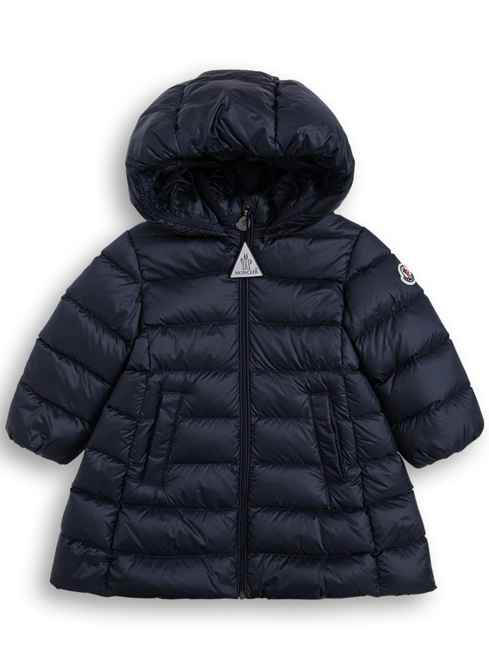 Moncler Long Majeure Down Jacket In Blue Nylon