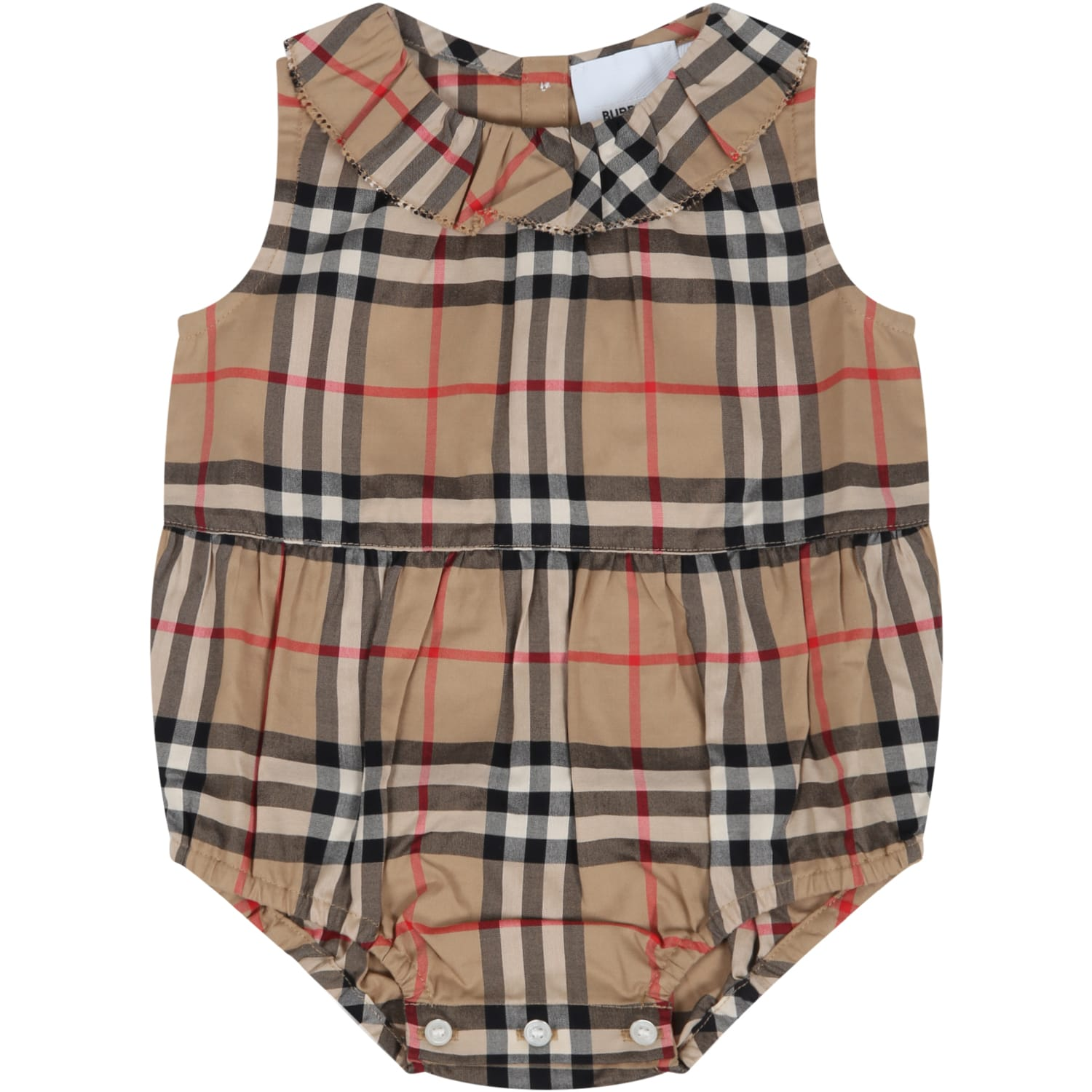 Burberry Cottons BEIGE ROMPER FOR BABYGIRL WITH VINTAGE CHECK