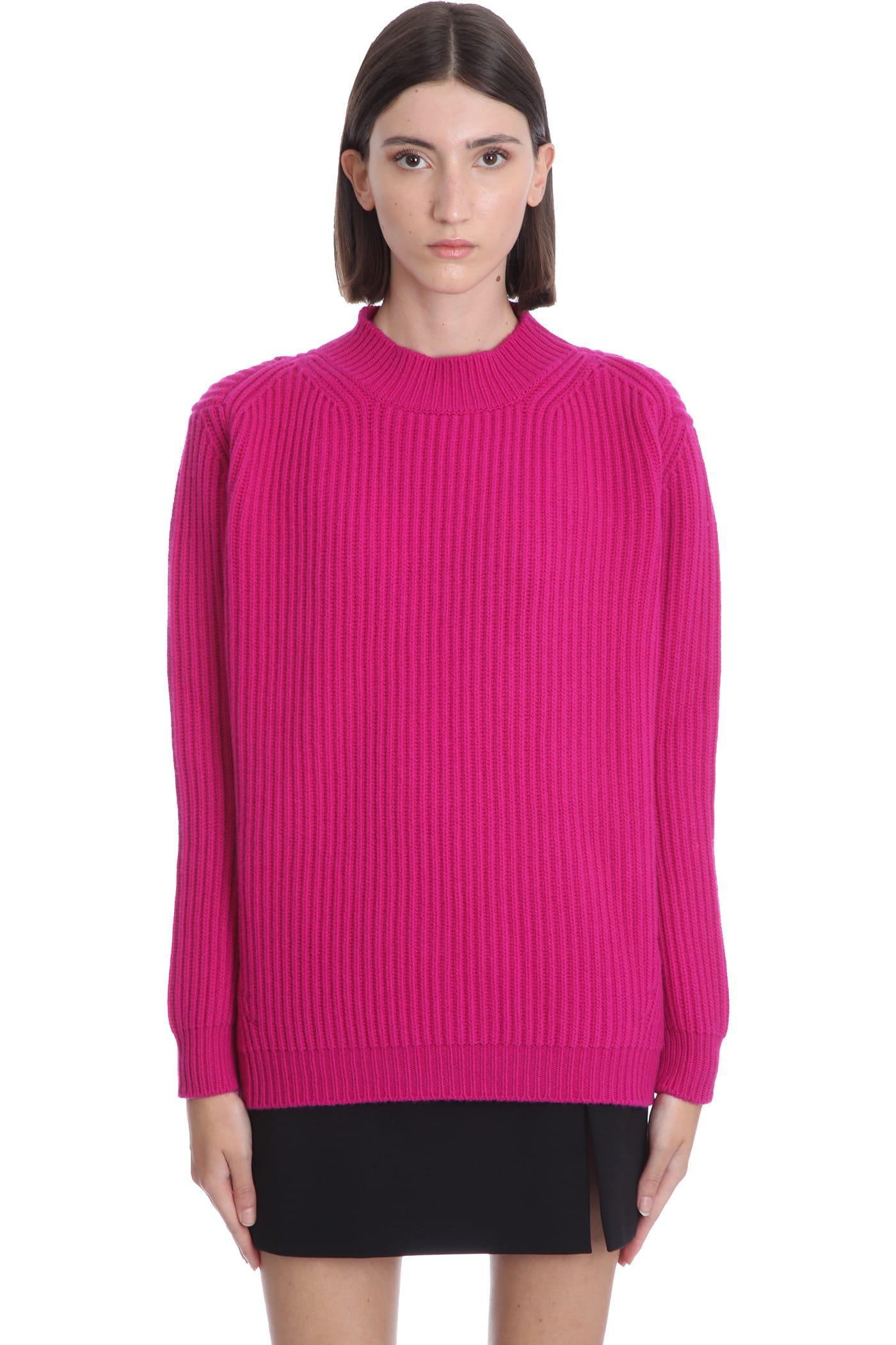Faye Knitwear In Fuxia Wool