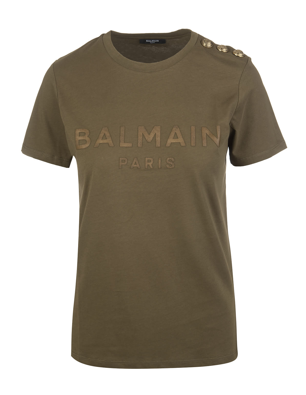 Khaki Balmain Woman T-shirt With Bronze Logo