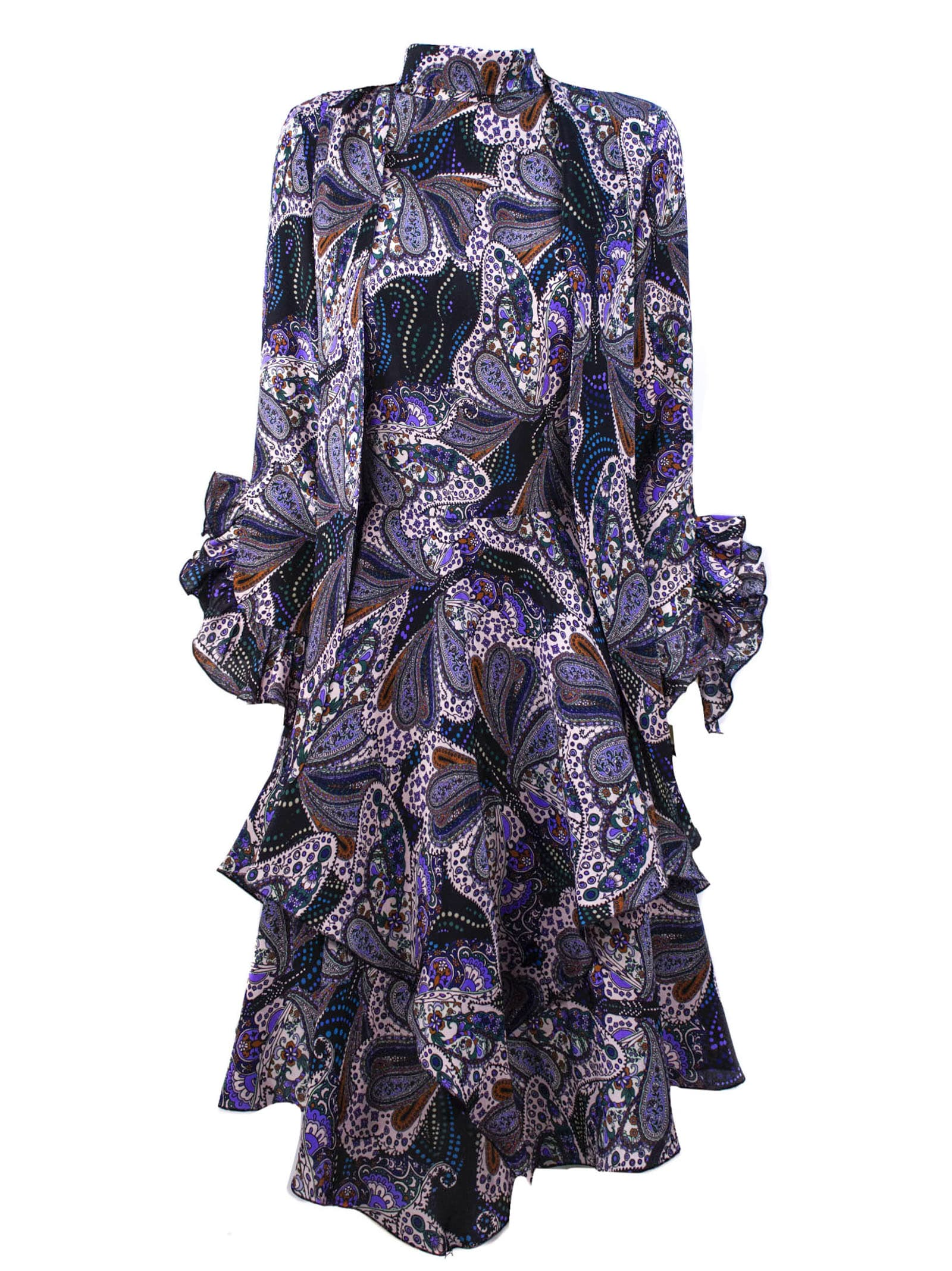 Buy Etro Blue And Purple Silk Dress online, shop Etro with free shipping