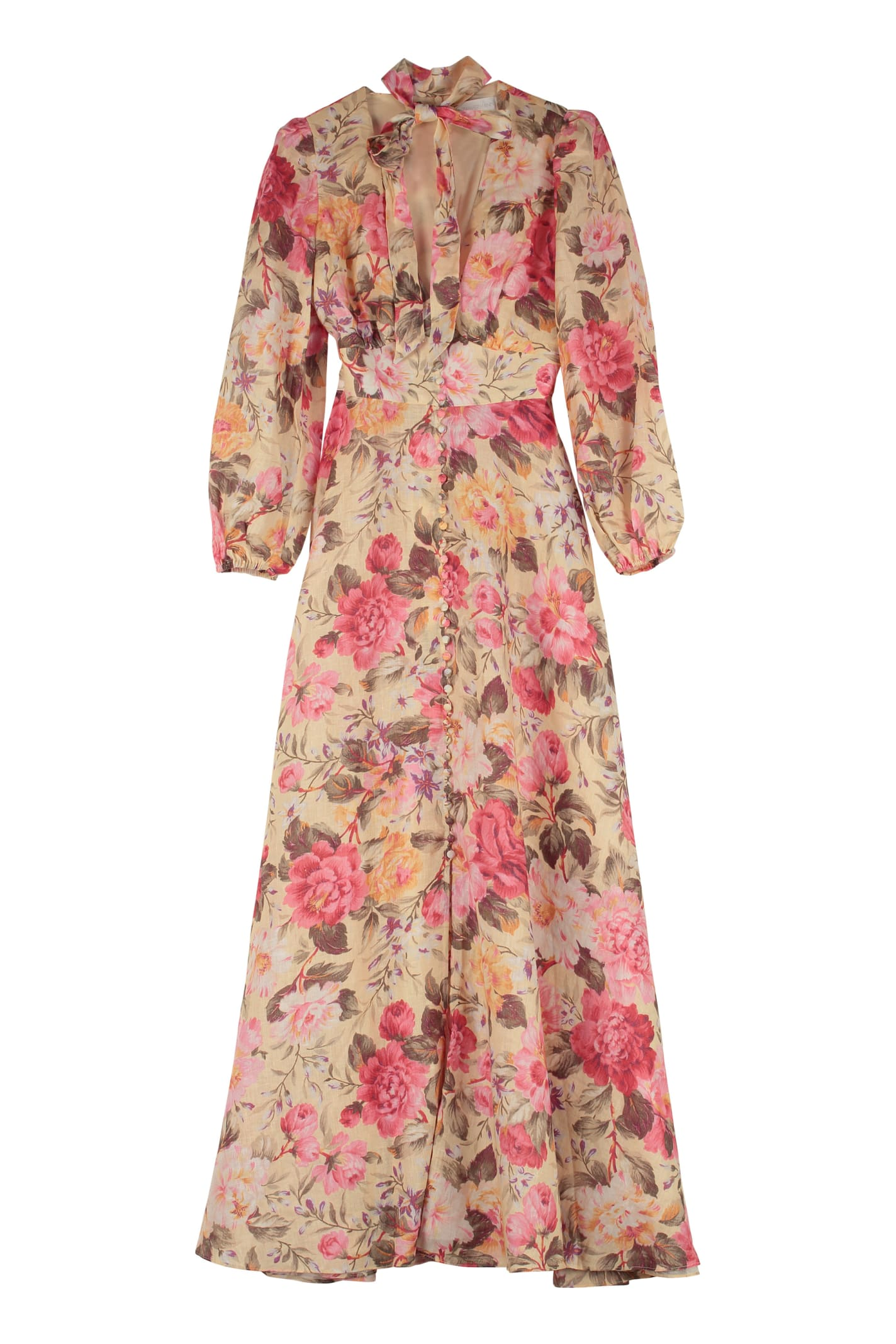 Buy Zimmermann Honour Printed Linen Maxi Dress online, shop Zimmermann with free shipping