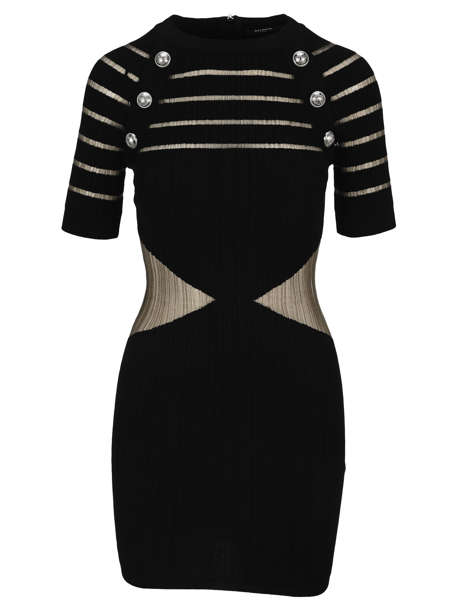 Buy Balmain Knit Dress With Sheer Panels online, shop Balmain with free shipping